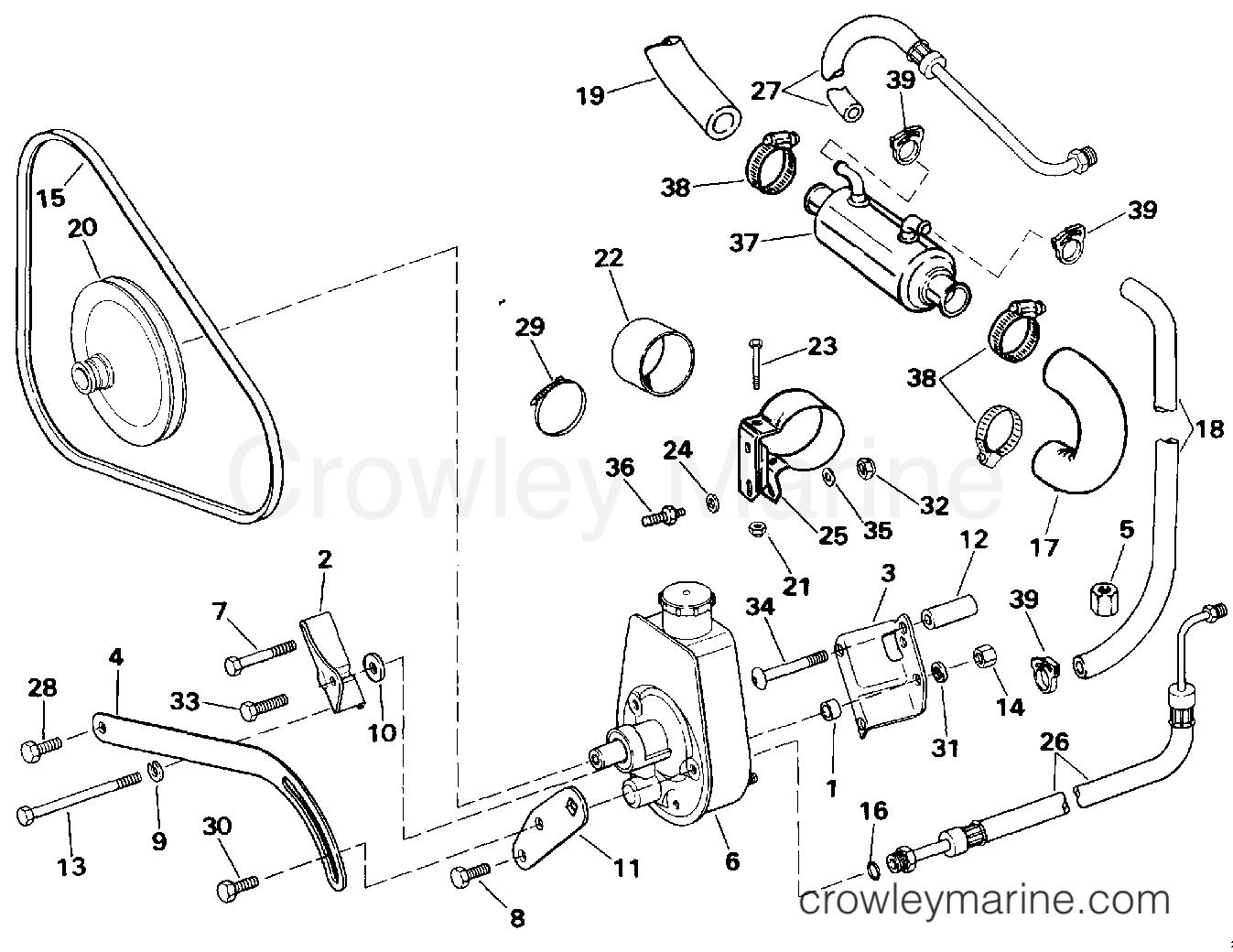 1994 OMC Stern Drive 5.8 - 58FBDPMDA - POWER STEERING PUMP