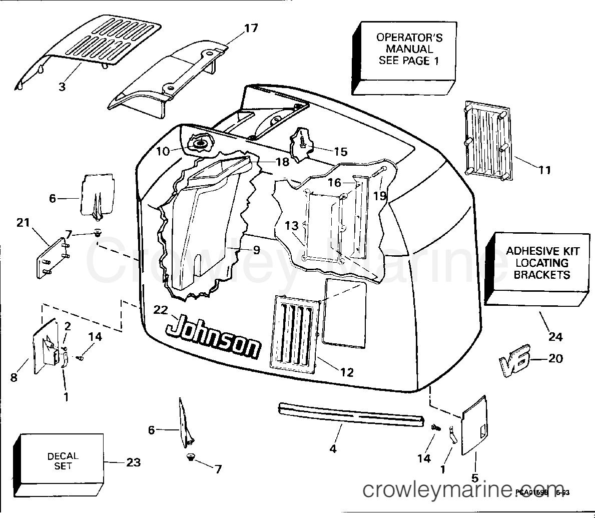 1994 Evinrude Outboards 185 - E185ESERK - ENGINE COVER - JOHNSON - 200 STL, 225STL section