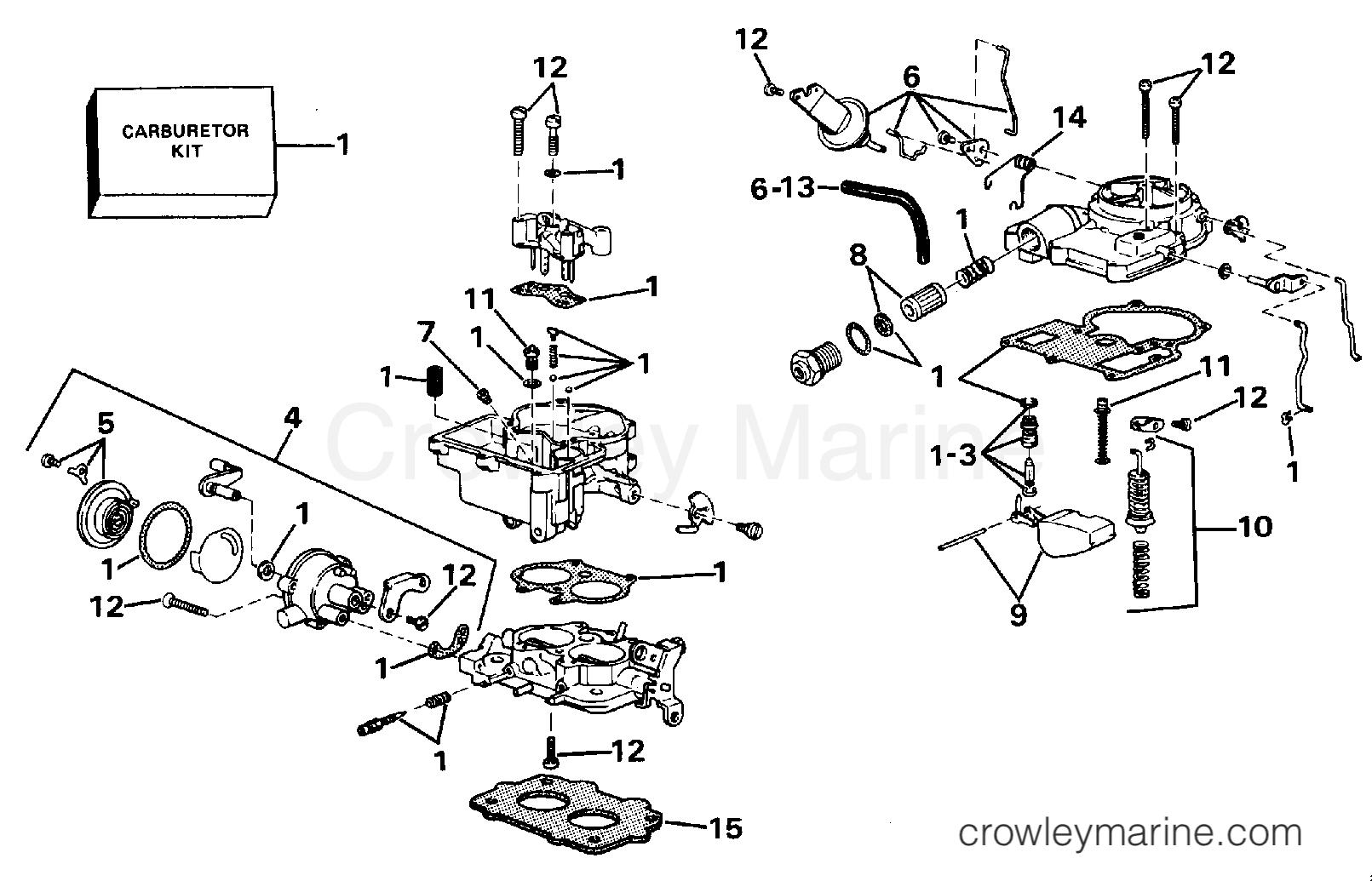 1988 OMC Stern Drive 2.3 - 232AMRGDE CARBURETOR section