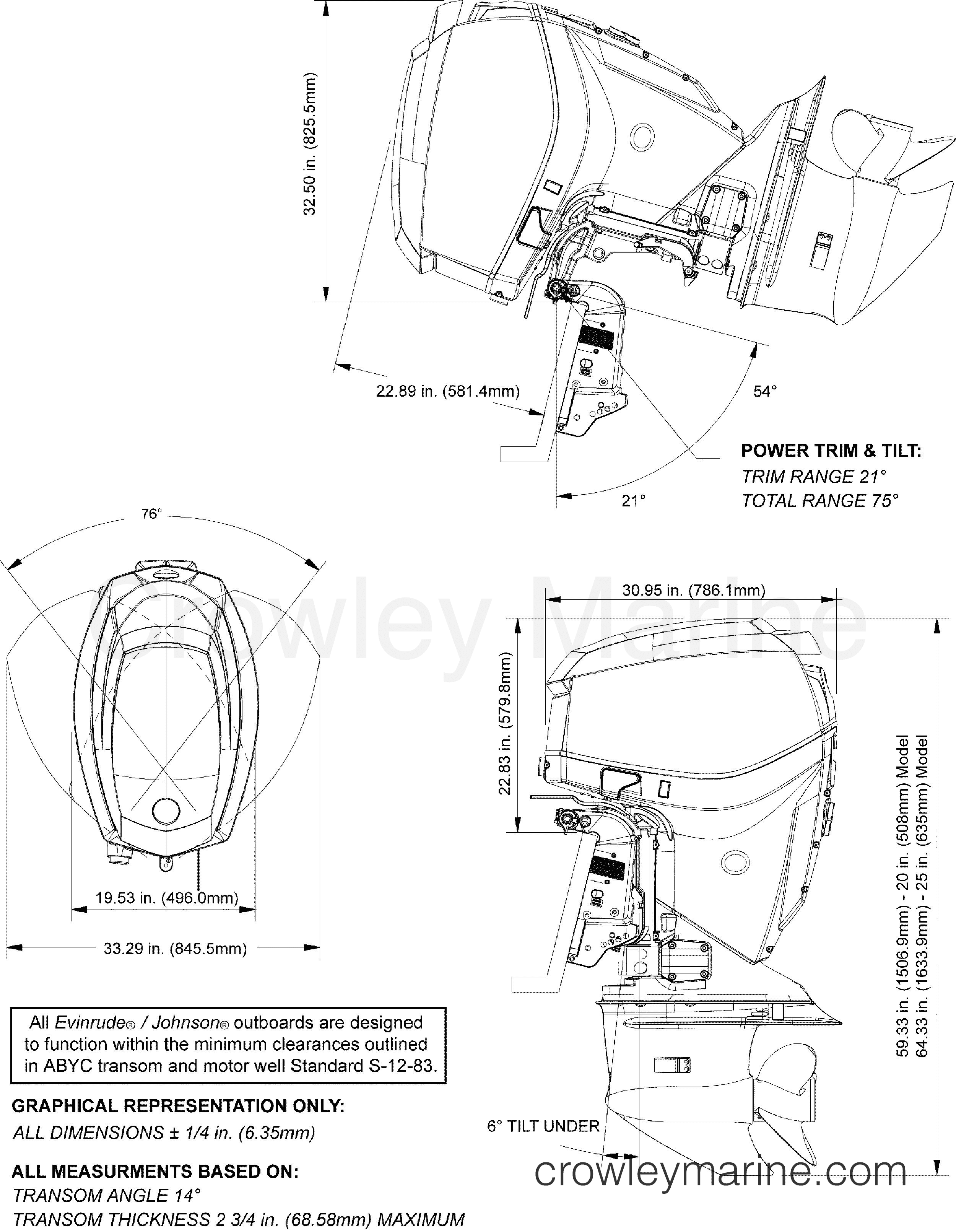 2012 Evinrude Outboards 130 - E130DPLINA PROFILE DRAWING section