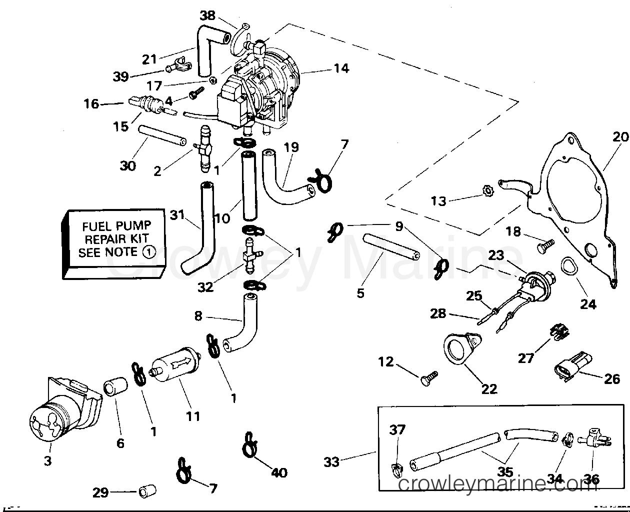 evinrude outboard motors fuel pump diagram