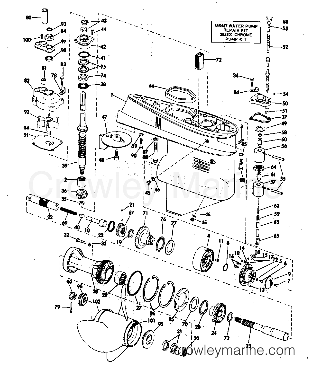 gearcase 1972 evinrude outboards 65 65272s crowley marine. Black Bedroom Furniture Sets. Home Design Ideas