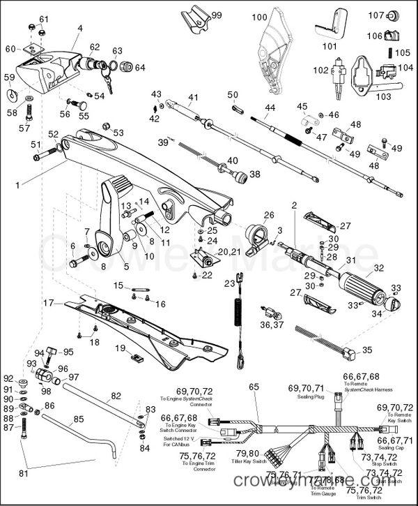 evinrude etec wiring schematics tiller handle kits  p n 5007125  5007126  5007075  5007076  tiller handle kits  p n 5007125