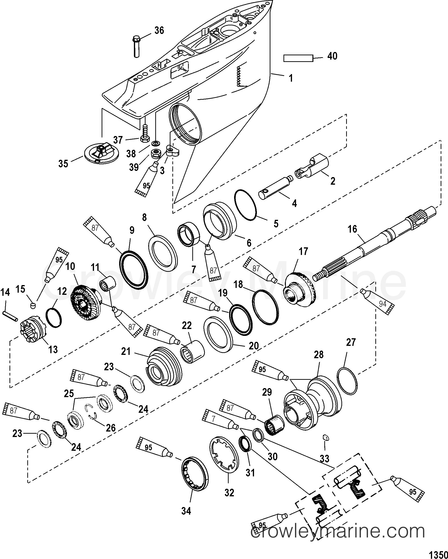 gear housing  propeller shaft - counter rotation