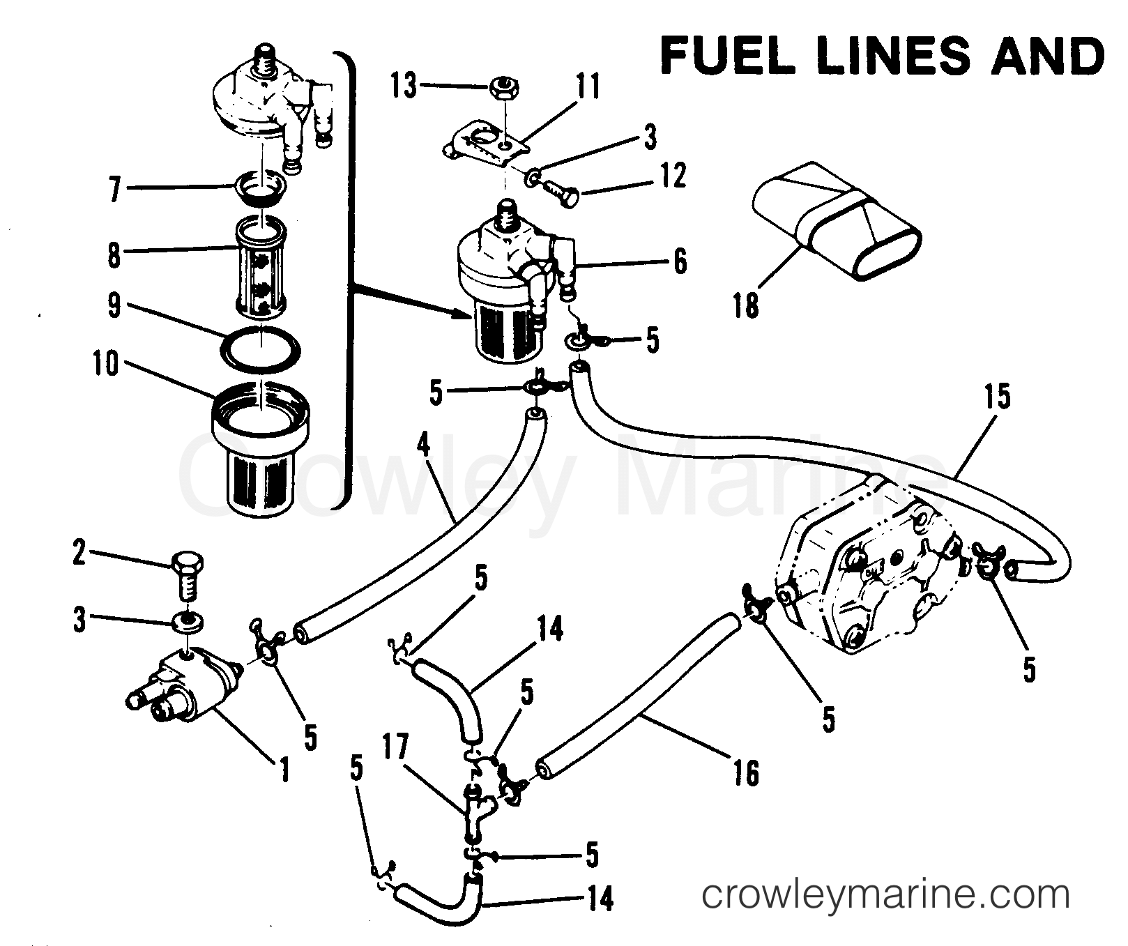 fuel lines and filter 1982 mariner outboard 40 el 7040522 rh crowleymarine com Mercury Marine Fuel Line Mercury Fuel Line Assembly