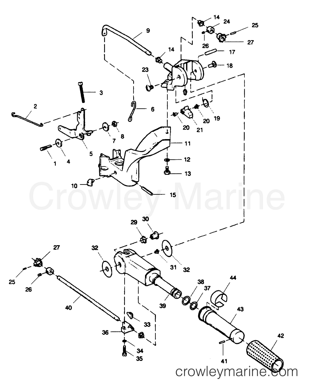 Tb225 Tiller Parts Diagram : Tiller handle and throttle linkage sears outboard