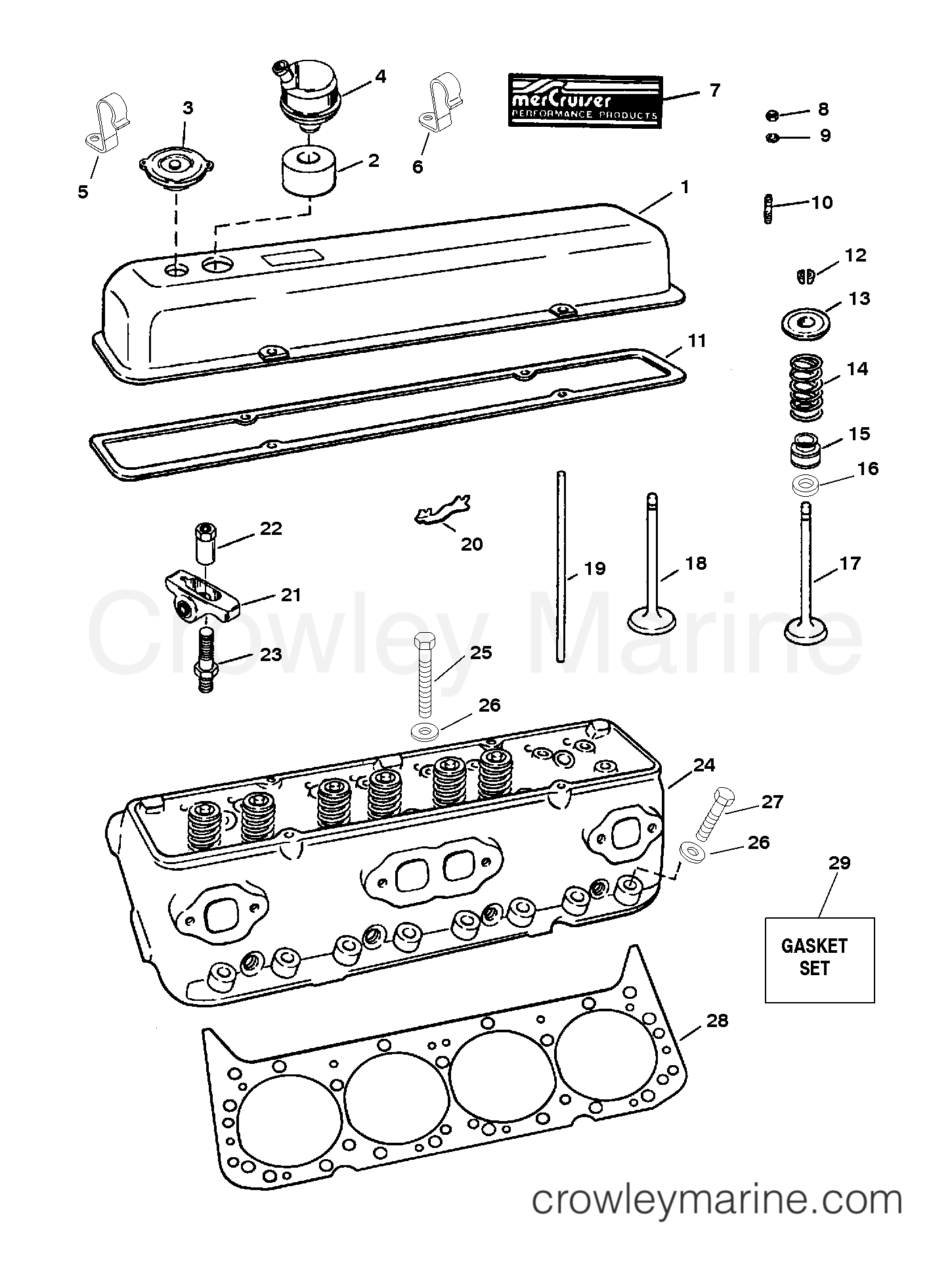 1992 Mercruiser Race Sterndrive 500 [III/IV] - 4500740EH - CYLINDER HEAD/ROCKER COVER (SERIAL # 0F348987 AND DOWN) section