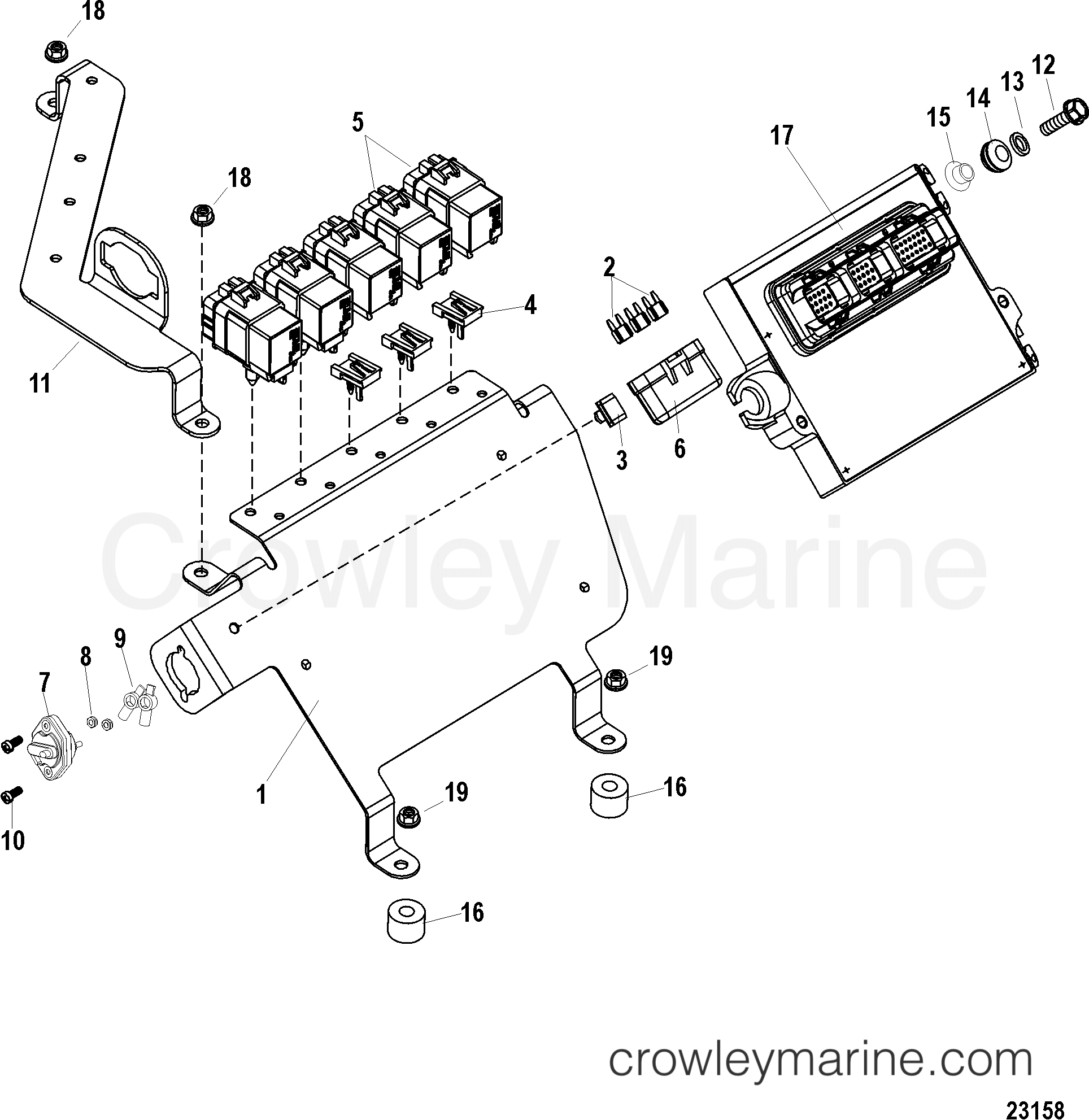 PCM AND BRACKET - 1998 Mercury Inboard Engine 8 1L HO [MPI
