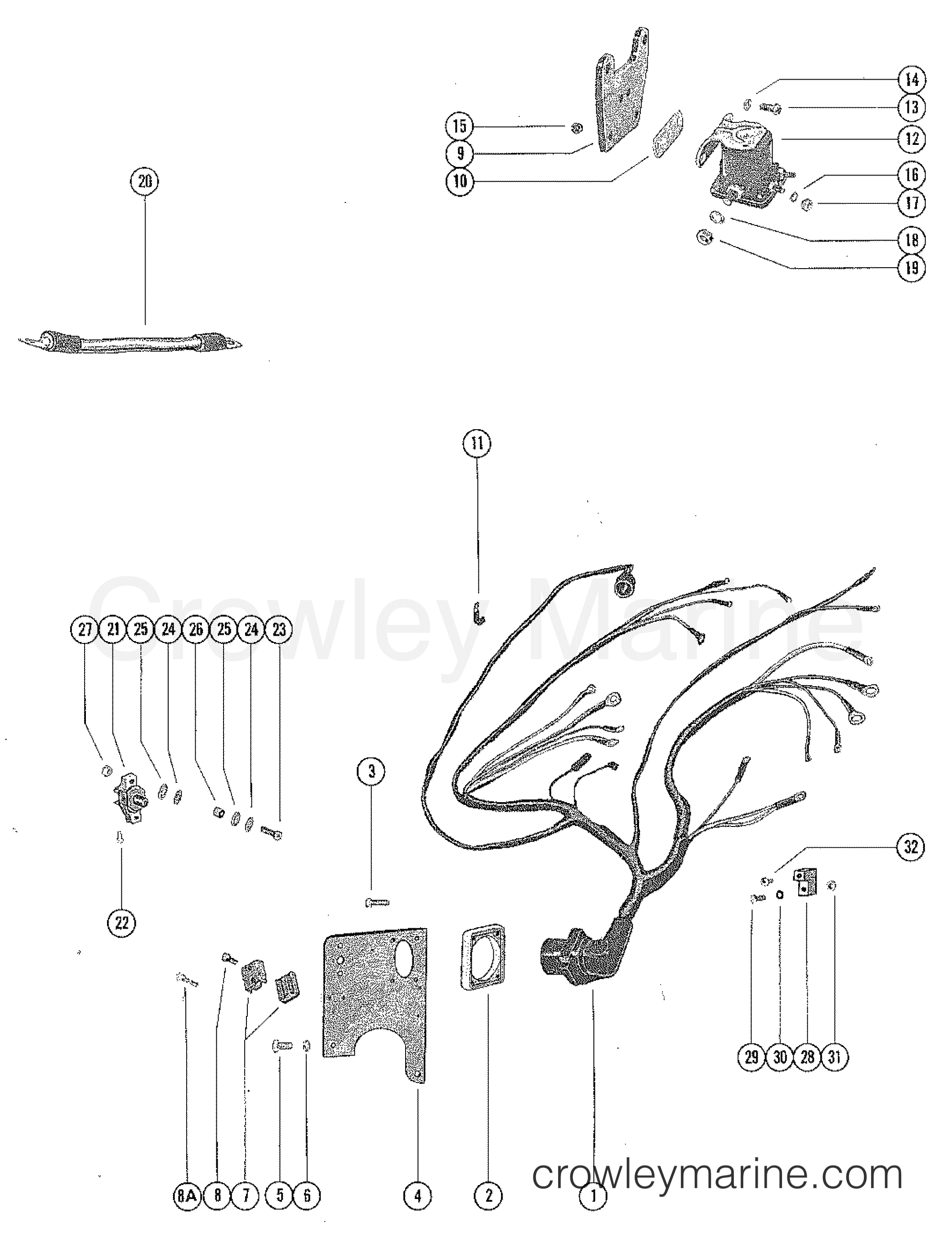 wiring harness, circuit breaker & startr solenoid (stern dr m 12071 a50 wiring harness 1974 ford 302 wiring harness diagram #16