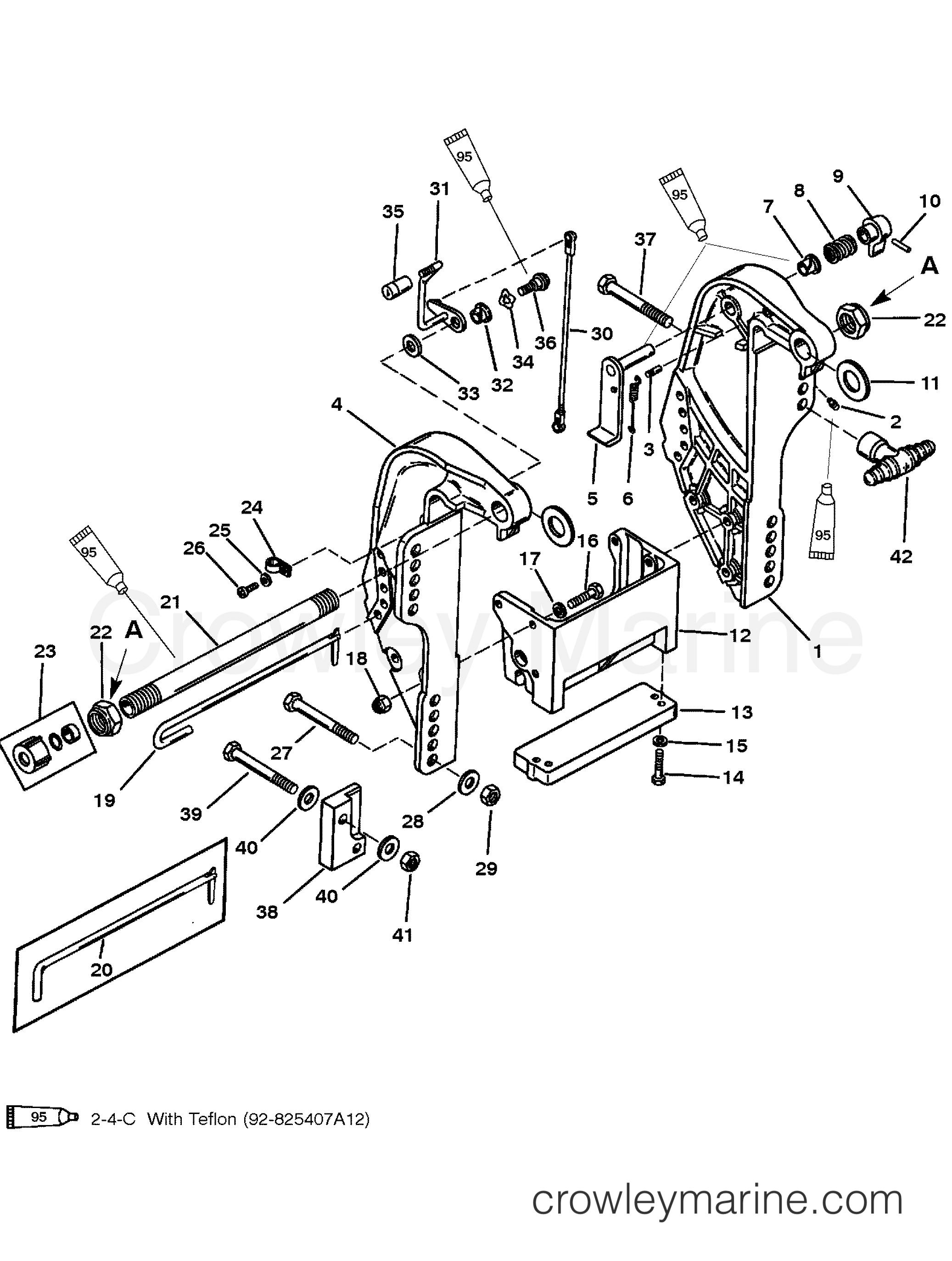 1995 Mercury Outboard 40 [ELPT] - 1040410RB TRANSOM BRACKET (S/N D181999 & BELOW) section