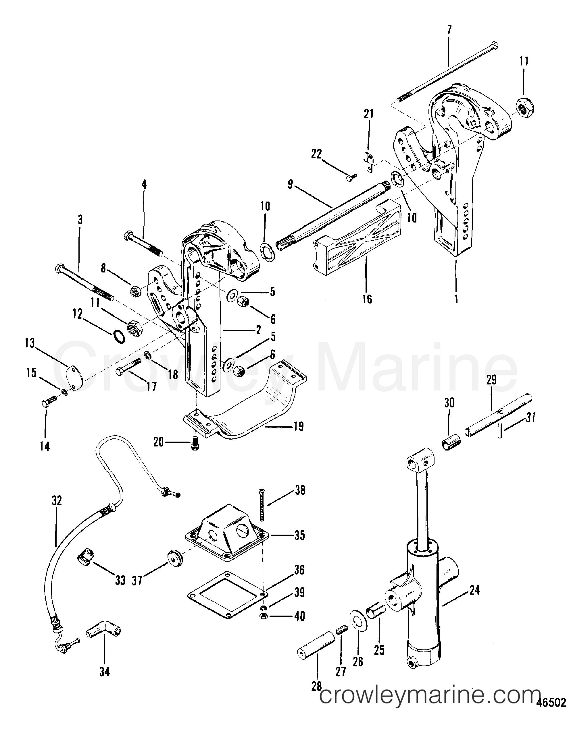 1983 Mercury Outboard 300 [ELPT] - 1300623 - TRANSOM BRACKETS section
