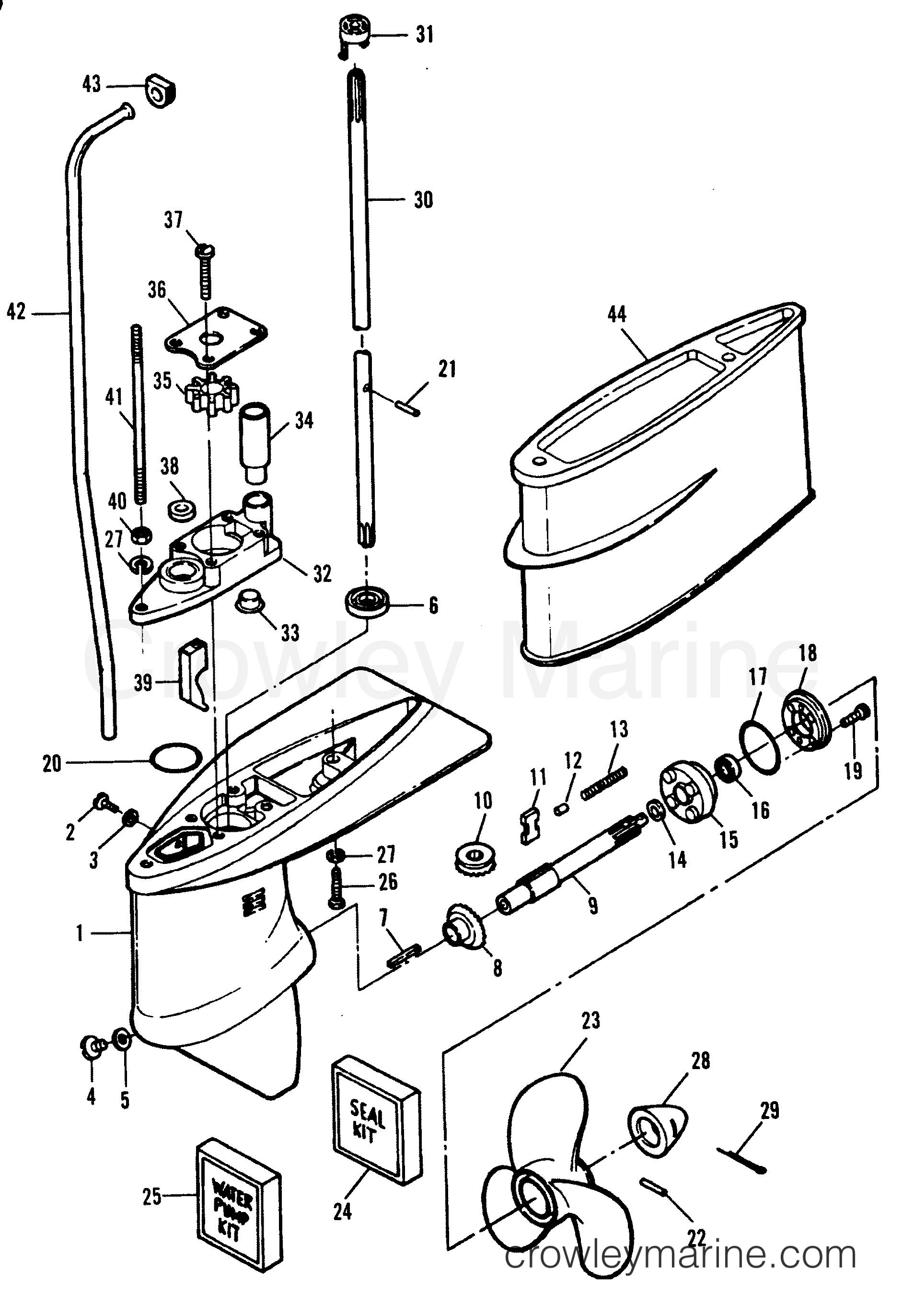 1993 Hors-bord Force 5 - H005201NE [MH] CARTER D'ENGRENAGES (TOUS LES MODÈLES) section