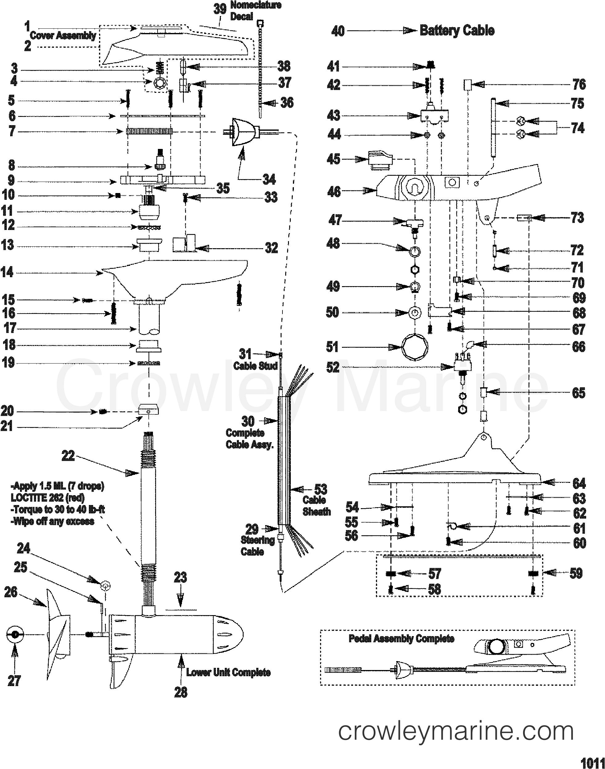 2000 MotorGuide 12V [MOTORGUIDE] - 9ET39B3WJ - COMPLETE TROLLING MOTOR(MODEL EF54V) (12 VOLT) section