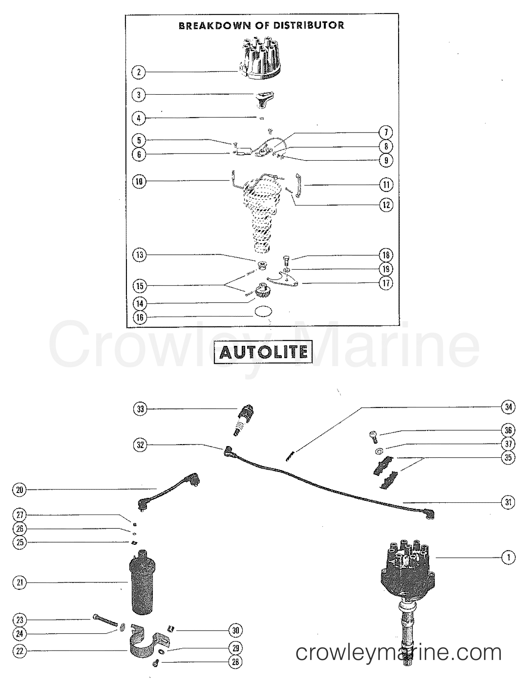 Distributor Assembly Complete Autolite Serial Range Mercruiser 302 Ford Marine Wiring Diagrams 225 4 Bbl V 8 1973