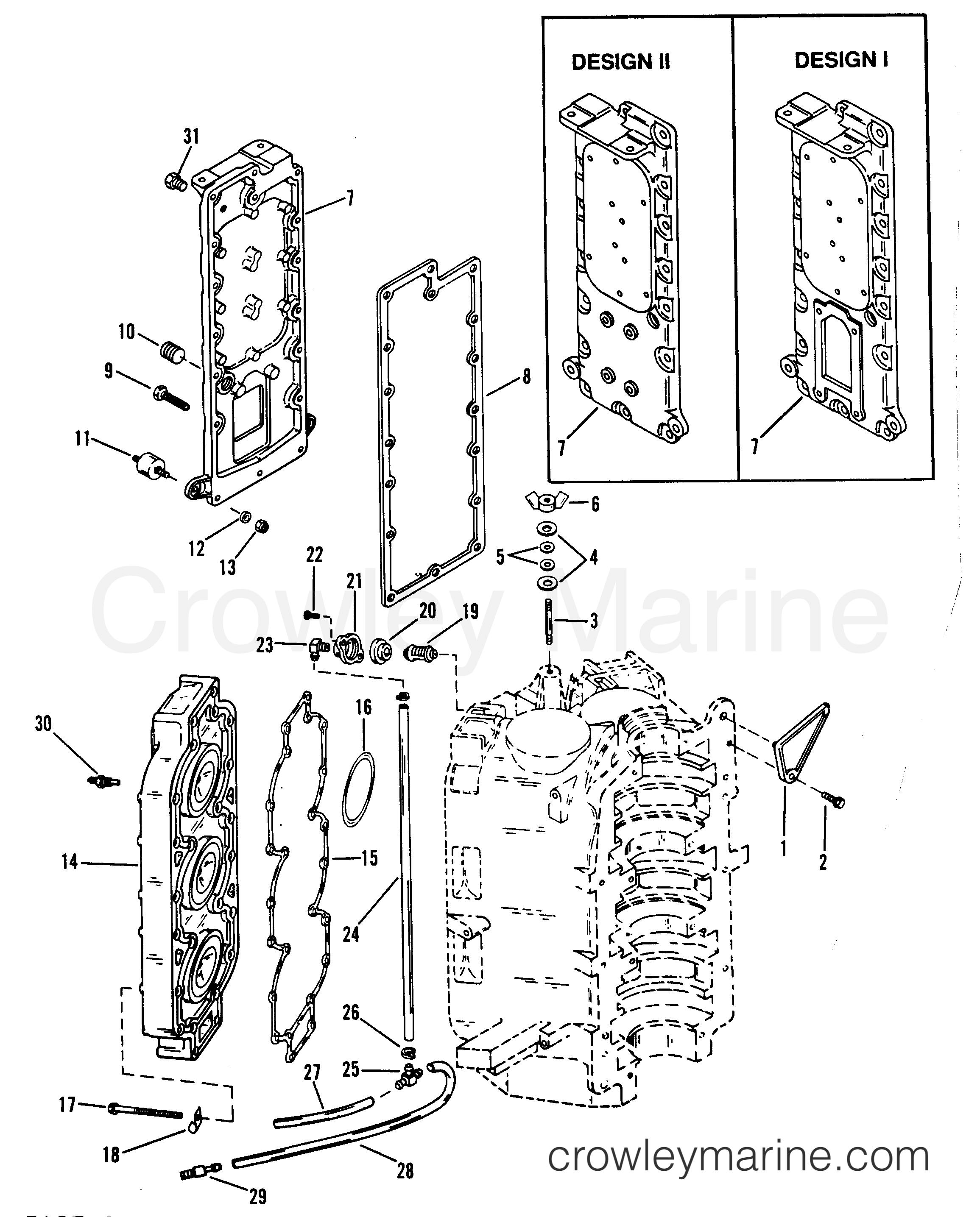 1989 Hors-bord Mariner 250 [XXL] - 7250432PD - COLLECTEUR D'ÉCHAPPEMENT ET CULASSE section