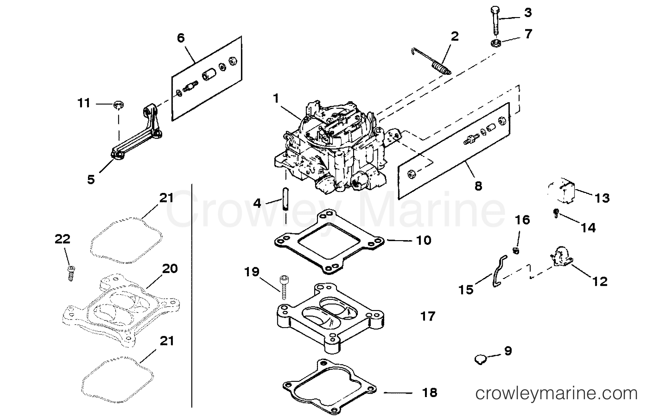 1993 Mercury Inboard Engine 5.7L - 3572234FS - CARBURETOR AND LINKAGE (SPACER MOUNTED) section