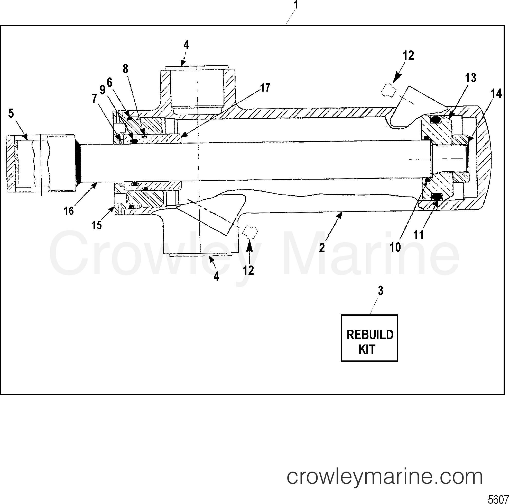 1994 Mercruiser Race Sterndrive SSM6 [1.607:1] - 5615607GH TRIM CYLINDER ASSEMBLY(WITHOUT TRIM SENSOR PLATE) section