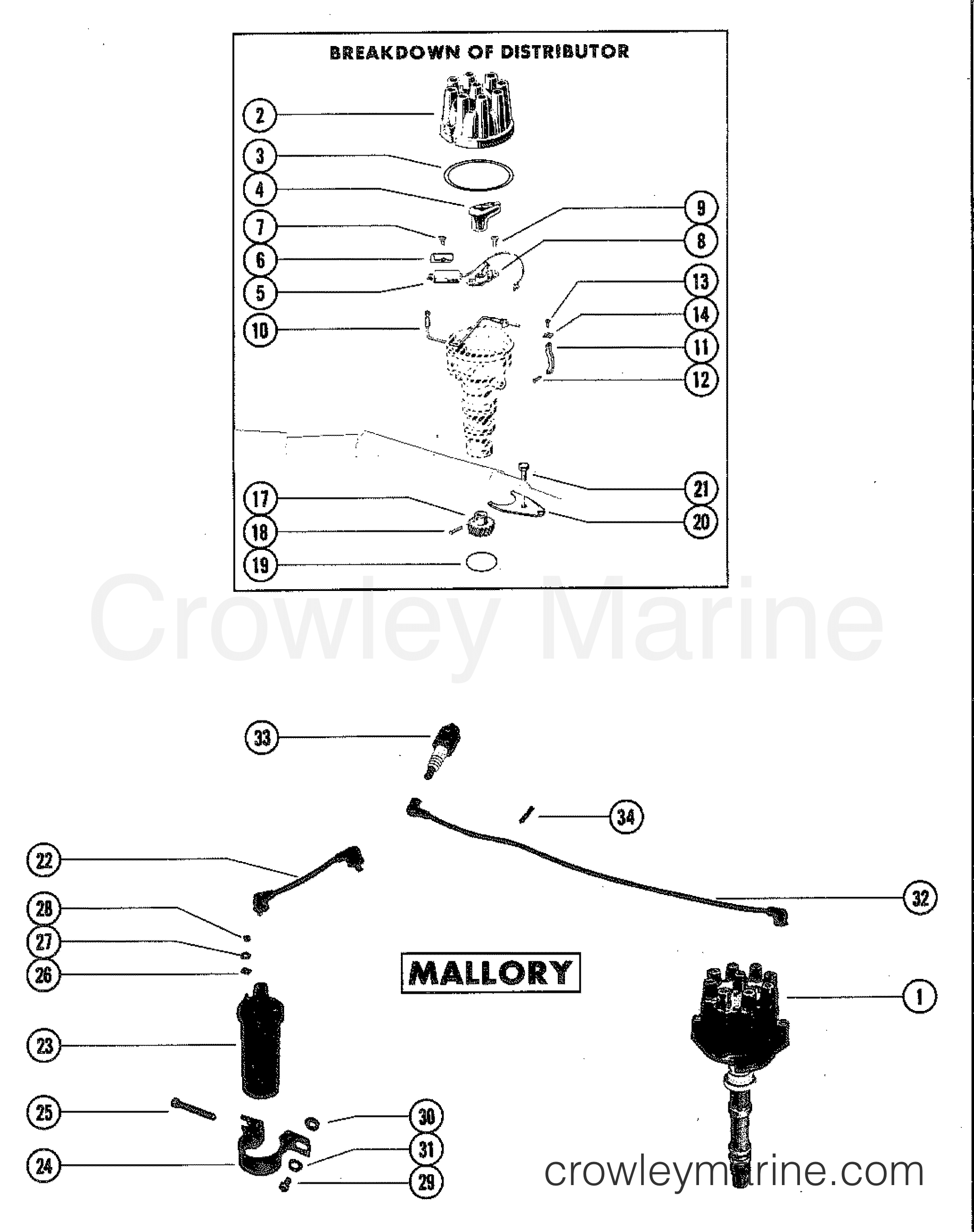 Unilite Distributor Parts Diagram Engine Control Wiring Mallory Assembly 1982 Mercruiser 898 08986342 Rh Crowleymarine Com 3756701