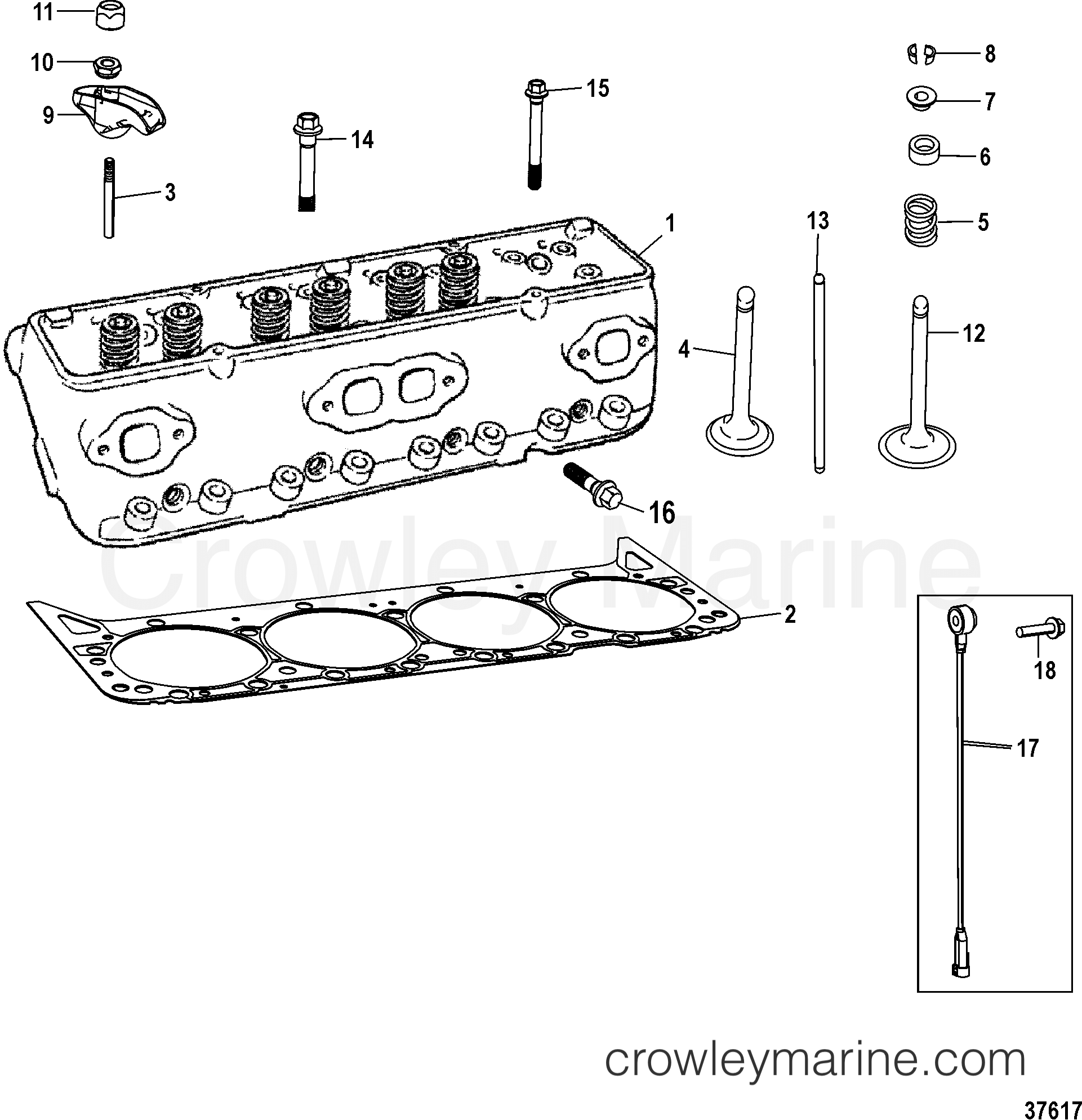 CYLINDER HEAD ASSEMBLY - 1998 Mercury Inboard Engine 350 MAG [DTS