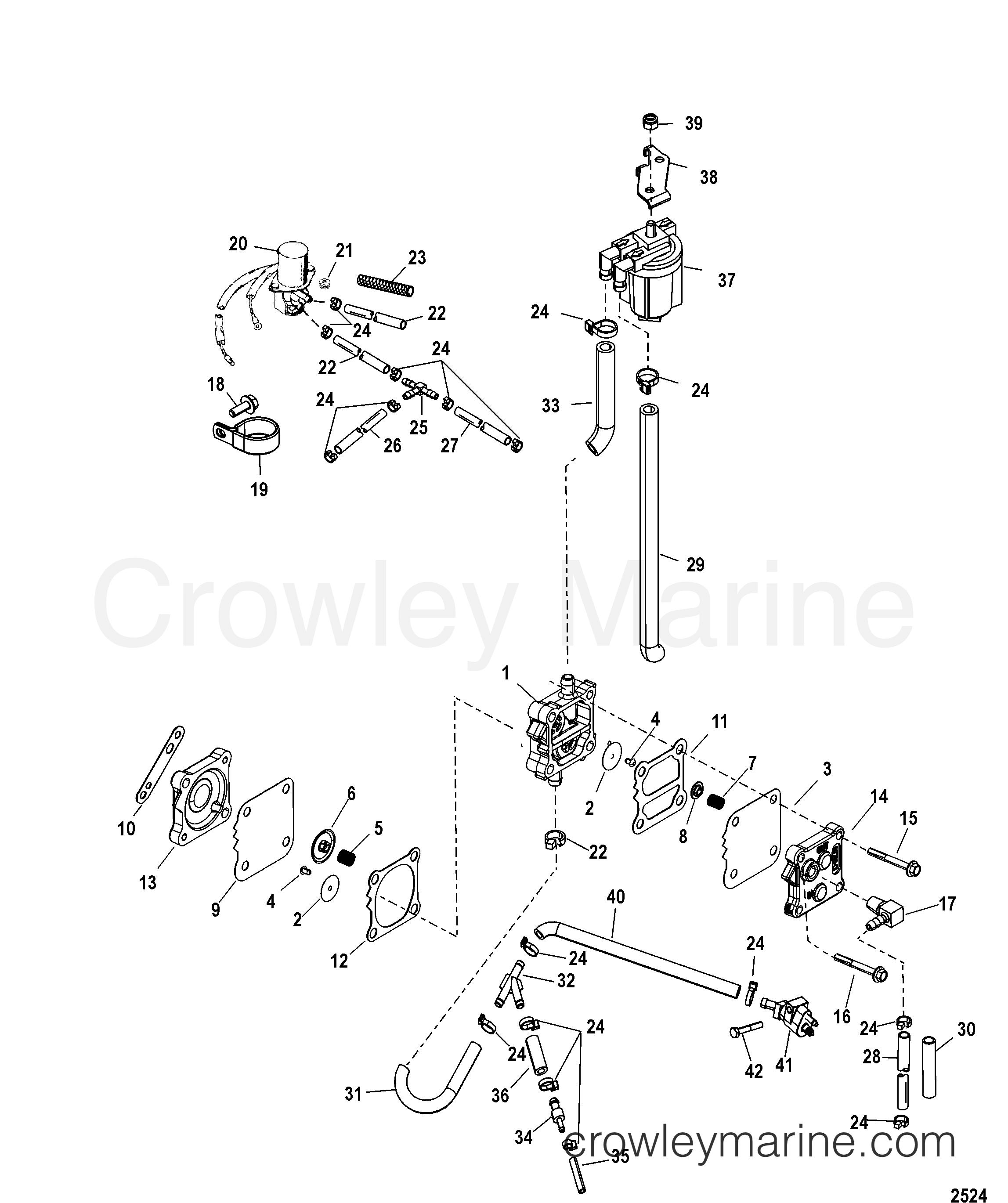 2000 Mariner Outboard 40 [ML] - 7041217JF - FUEL PUMP(ELECTRIC)(DESIGN II) section