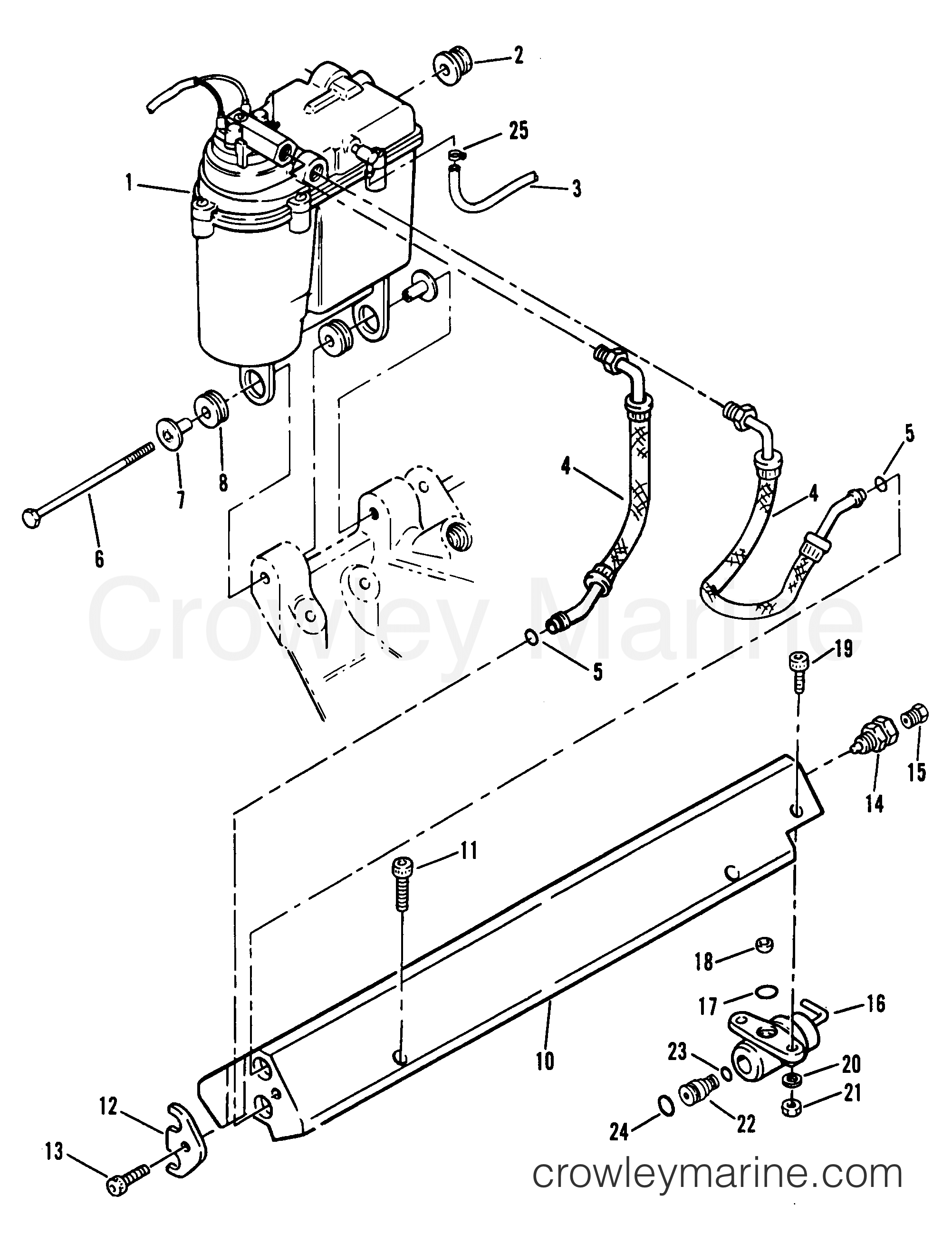 Vapor Separator Tank And Fuel Rail 1994 Mercury Inboard Engine Evinrude 175 Wiring Diagrams 454ski Efi Mp 374b169gs