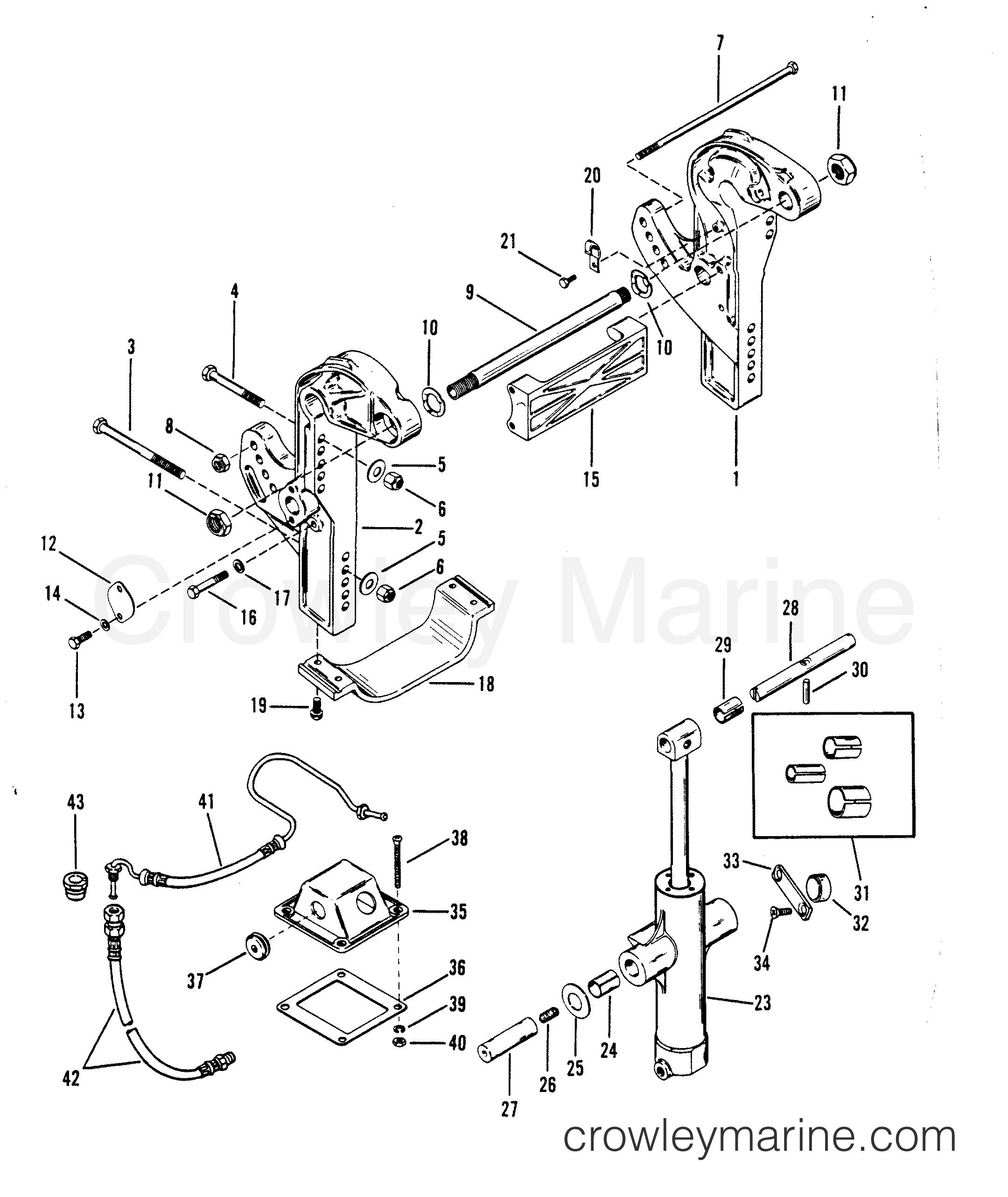 1993 Hors-bord de course Mercury 2.5 [L EFI] - 7925211BH - SUPPORTS DE TABLEAU ARRIÈRE ET CYLINDRE DE RELEVAGE section