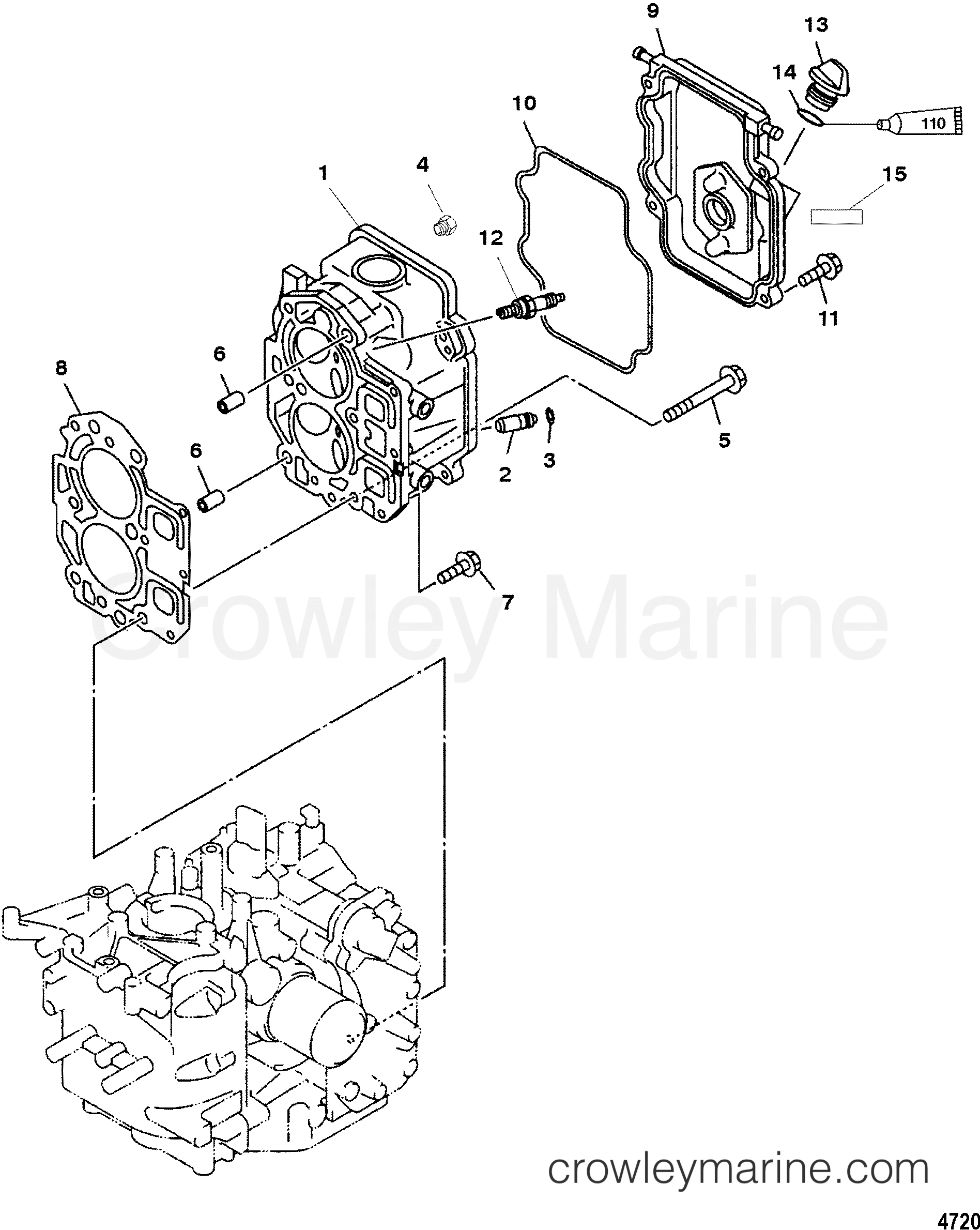 2003 Mariner Outboard 9.9 [ML 4] - 7F10213MD CYLINDER HEAD section