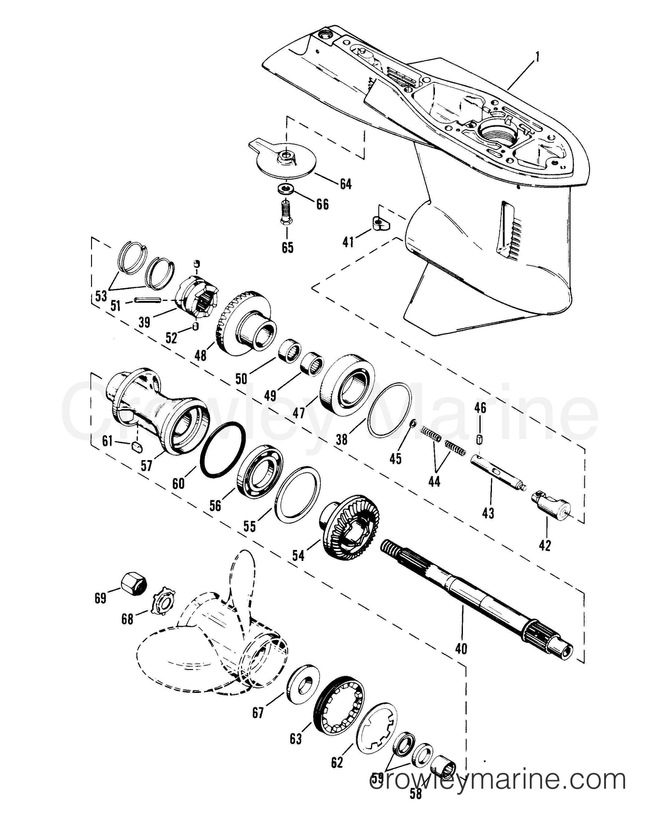 GEAR HOUSING (PROPELLER SHAFT) - Serial Range Mercury Race Outboard
