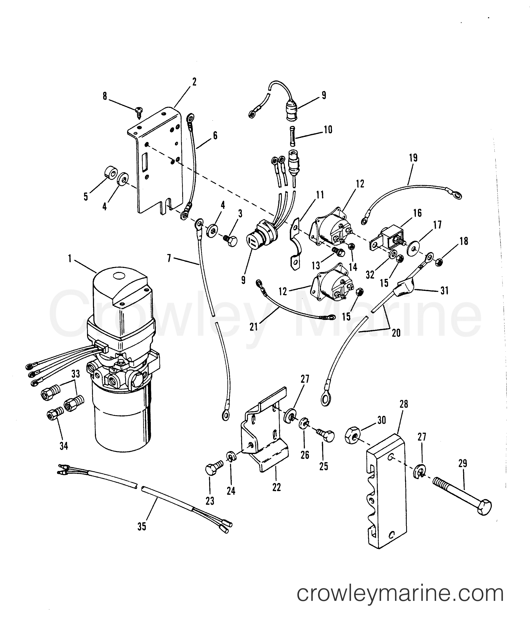 1993 Hors-bord de course Mercury 2.5 [L EFI] - 7925211BH - SUPPORTS DE MONTAGE ET POMPE HYDRAULIQUE section