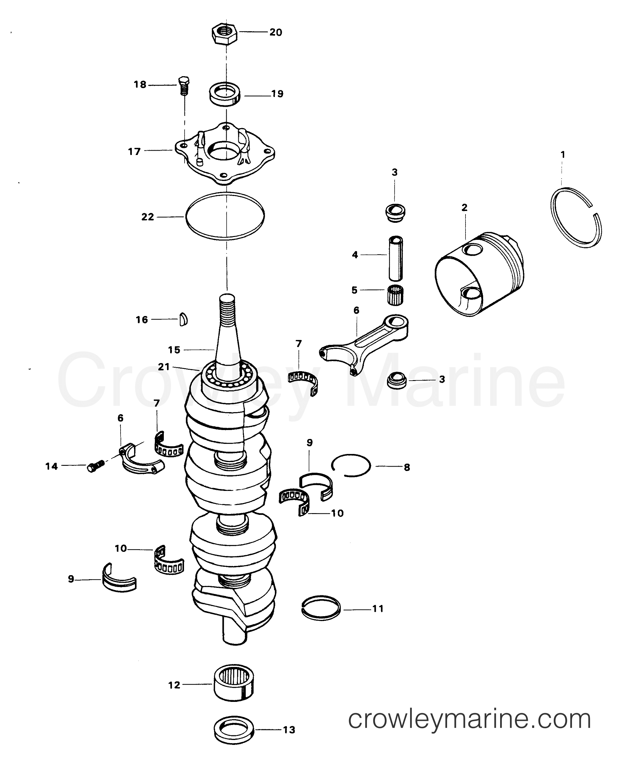 1982 Force Outboard 140 - H1408H82D - CRANKSHAFT AND PISTON GROUP