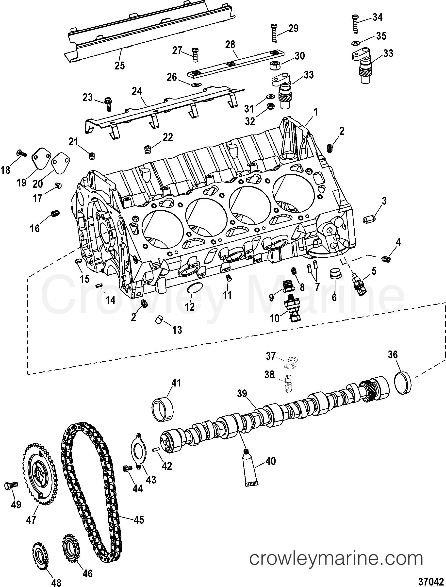 engine components cylinder block and camshaft