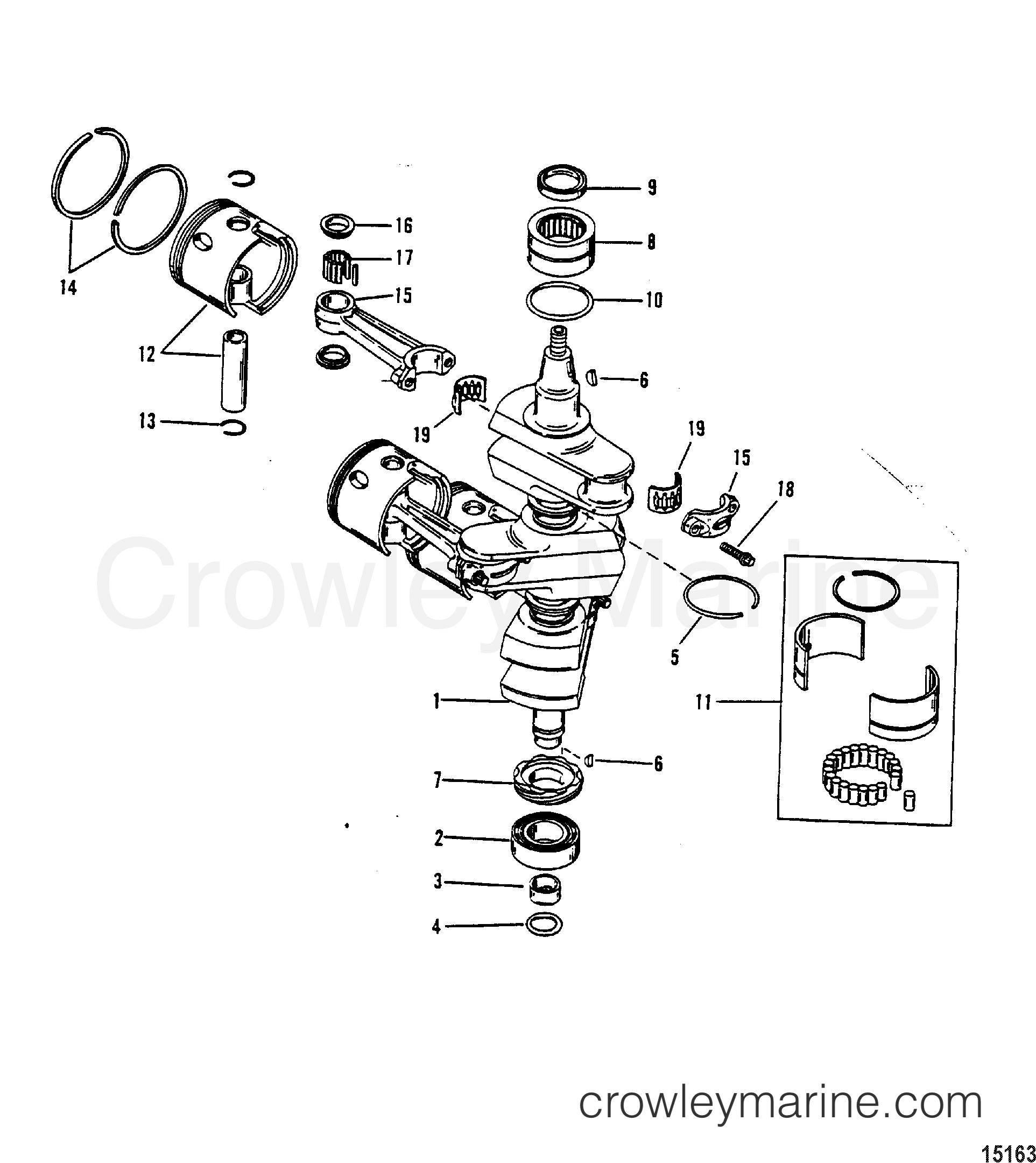 crankshaft pistons connecting rods 646 818846 1990. Black Bedroom Furniture Sets. Home Design Ideas