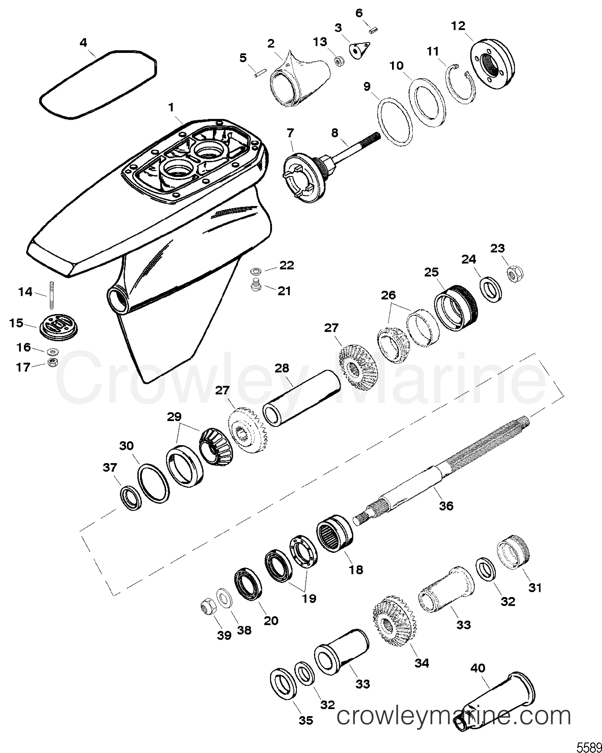 1996 Mercruiser Race Sterndrive SSM6 [1.607:1] - 5614607JH - GEAR HOUSING ASSEMBLY(SSM SIX - PROPSHAFT) section