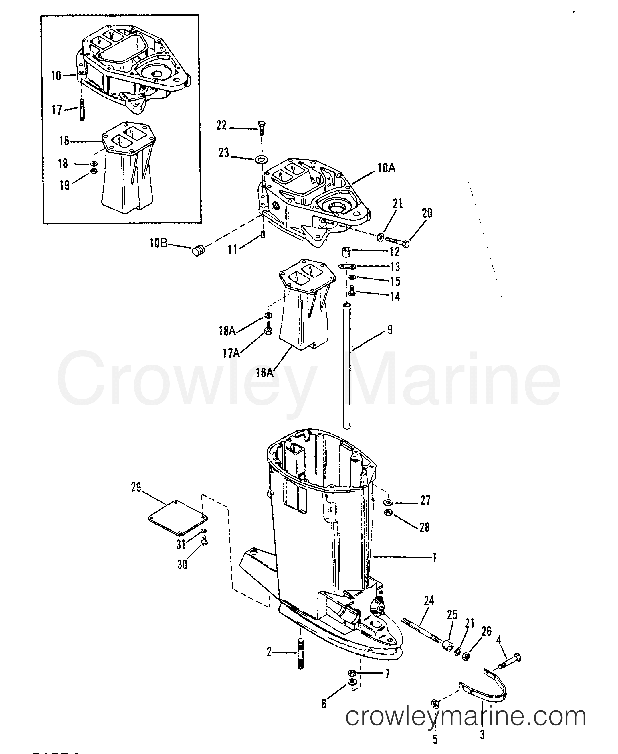 1991 Mercury Race Outboard 2.5L [CL EFI] - 7925212YH - DRIVE SHAFT HOUSING (OFFSHORE) section