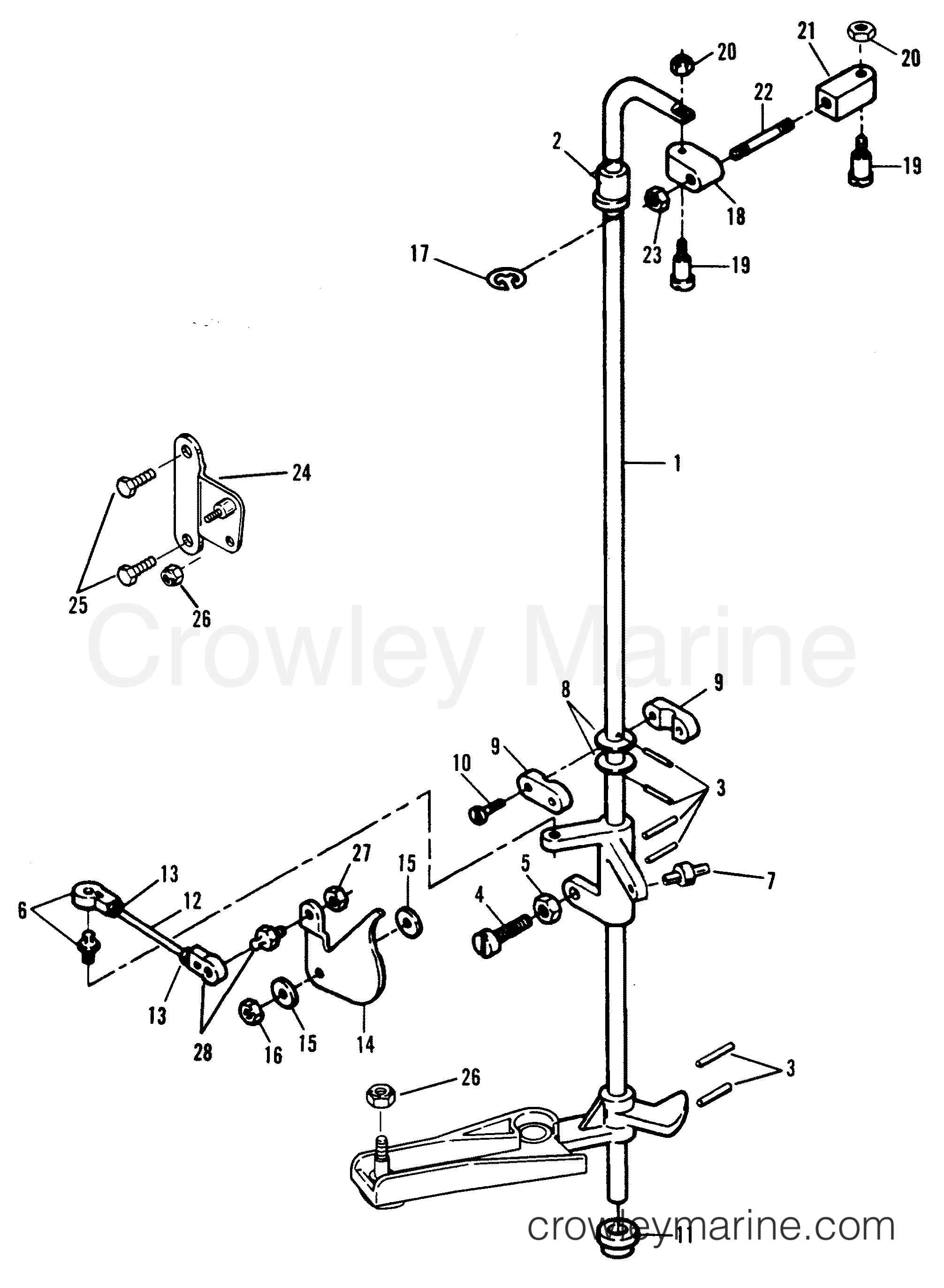 Throttle linkage 0e009500 thru 0e093699 1989 force for Force outboard motor parts diagram