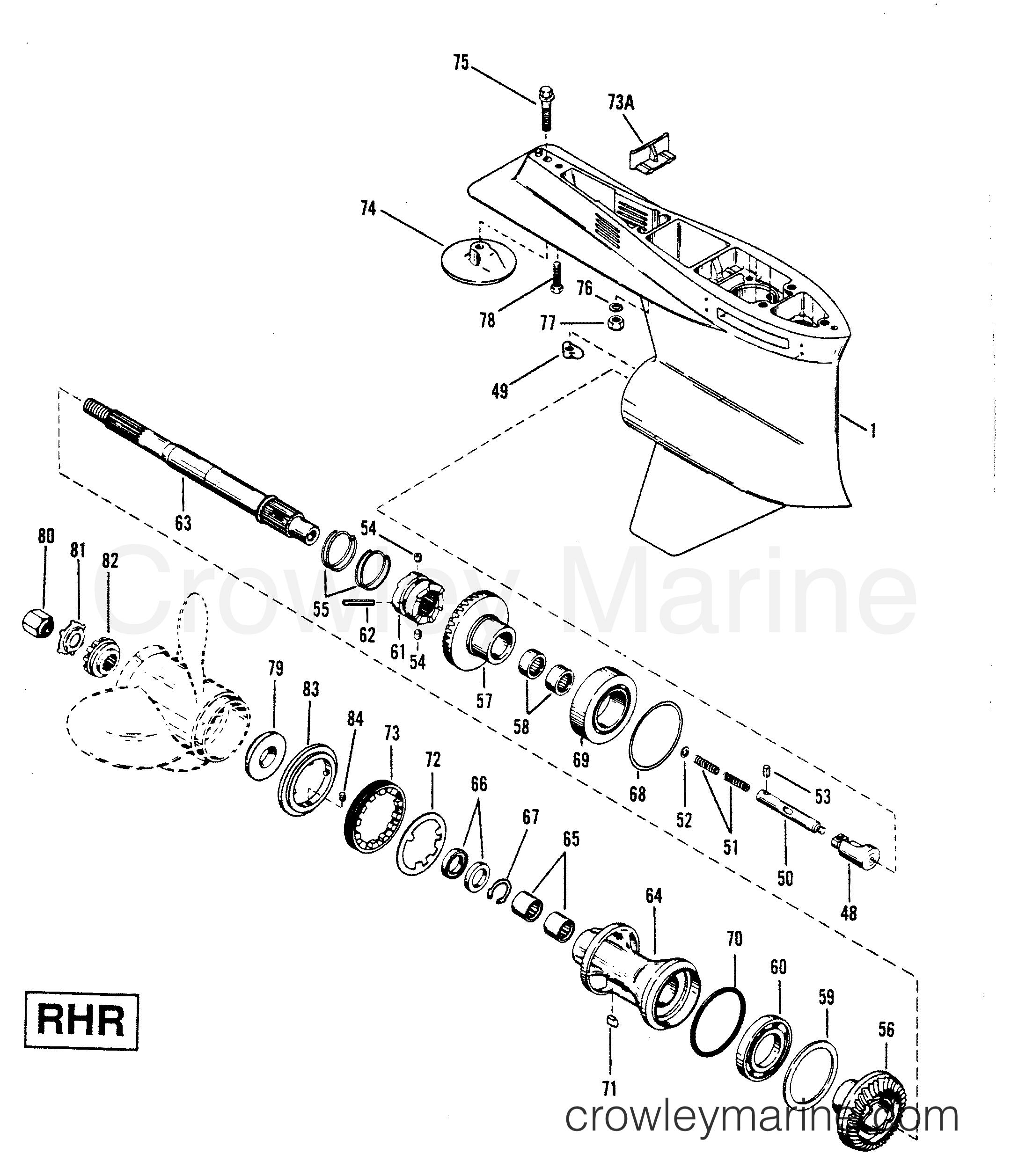 1991 Mercury Race Outboard 2.5L [L EFI] - 7925211YH - GEAR HOUSING (PROPELLER SHAFT)RHR 2-HOLE WATER PICK-UP section