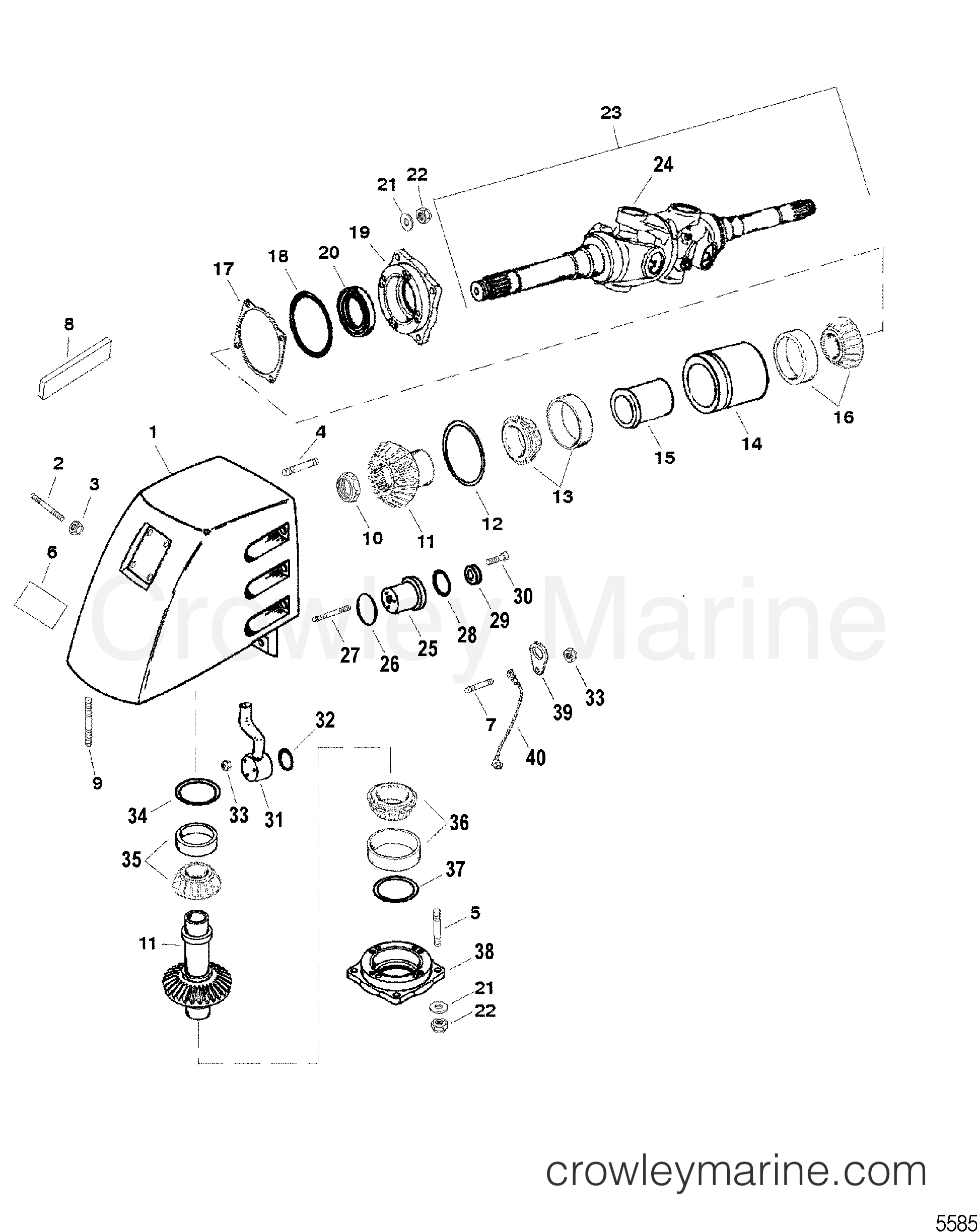 Serial Range Mercruiser Race Sterndrive SSM SIX - ALL & Up [USA] U JOINT HOUSING ASSEMBLY(SSM SIX - EARLY STYLE) section
