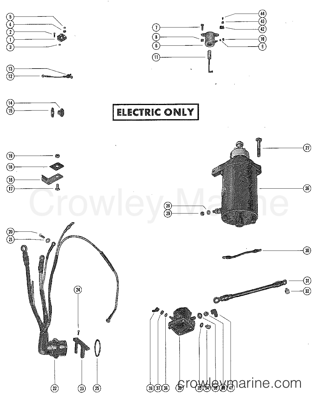 STARTER MOTOR, RECTIFIER AND WIRING HARNESS - Serial Range Mercury on mercury 50 hp wiring diagram, harley davidson wiring harness, saturn wiring harness, mercury marine ignition wiring, arctic cat wiring harness, mercury optimax wiring harness, volvo penta wiring harness, suzuki wiring harness, kenwood wiring harness, yamaha wiring harness, husqvarna wiring harness, outboard motor wiring harness, caterpillar wiring harness, mercury marine ignition harness, delphi wiring harness, mercury 40 hp wiring diagram, west marine wiring harness, detroit diesel wiring harness, ididit wiring harness, mercruiser wiring harness,