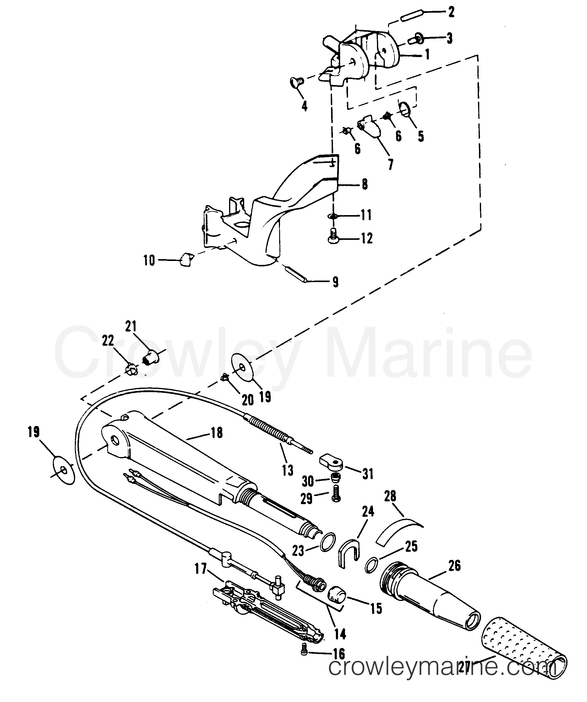tiller handle and throttle linkage