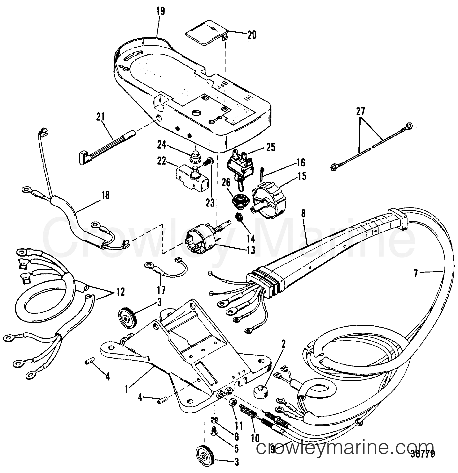 wiring harness and foot plate remote control