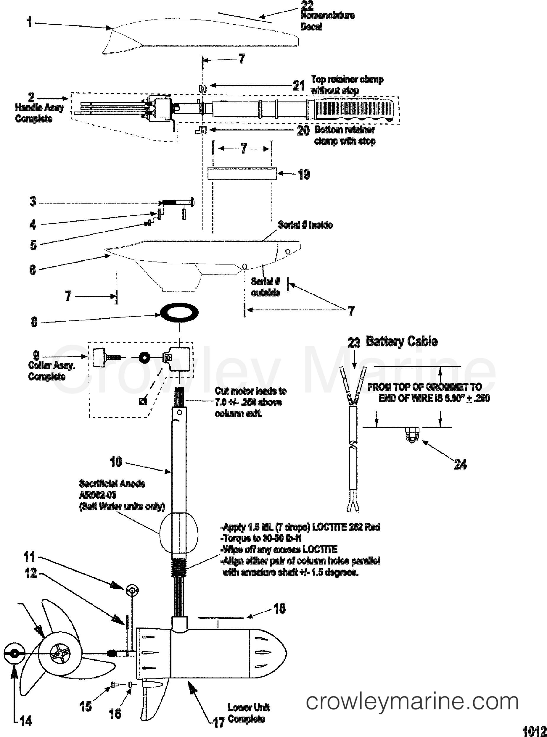 2000 MotorGuide 24V [MOTORGUIDE] - 9ET76VKW1 COMPLETE TROLLING MOTOR(MODEL ET49) (12 VOLT) section