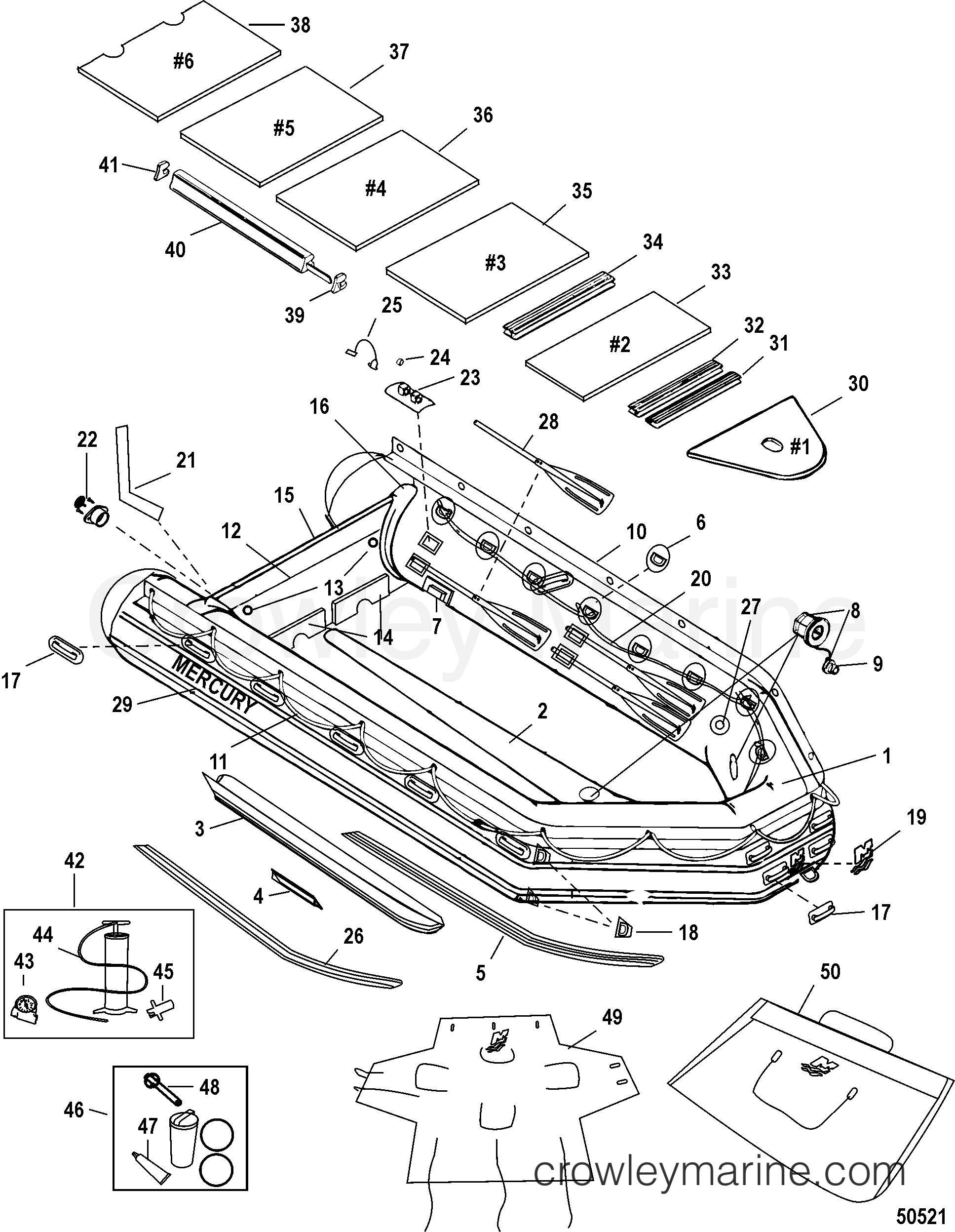 2011 Quicksilver Inflatable 270SPT [IB3] - AA270098M - TM470 PRO MODEL-PVC(BLACK- ALUMINUM FLOORS) section