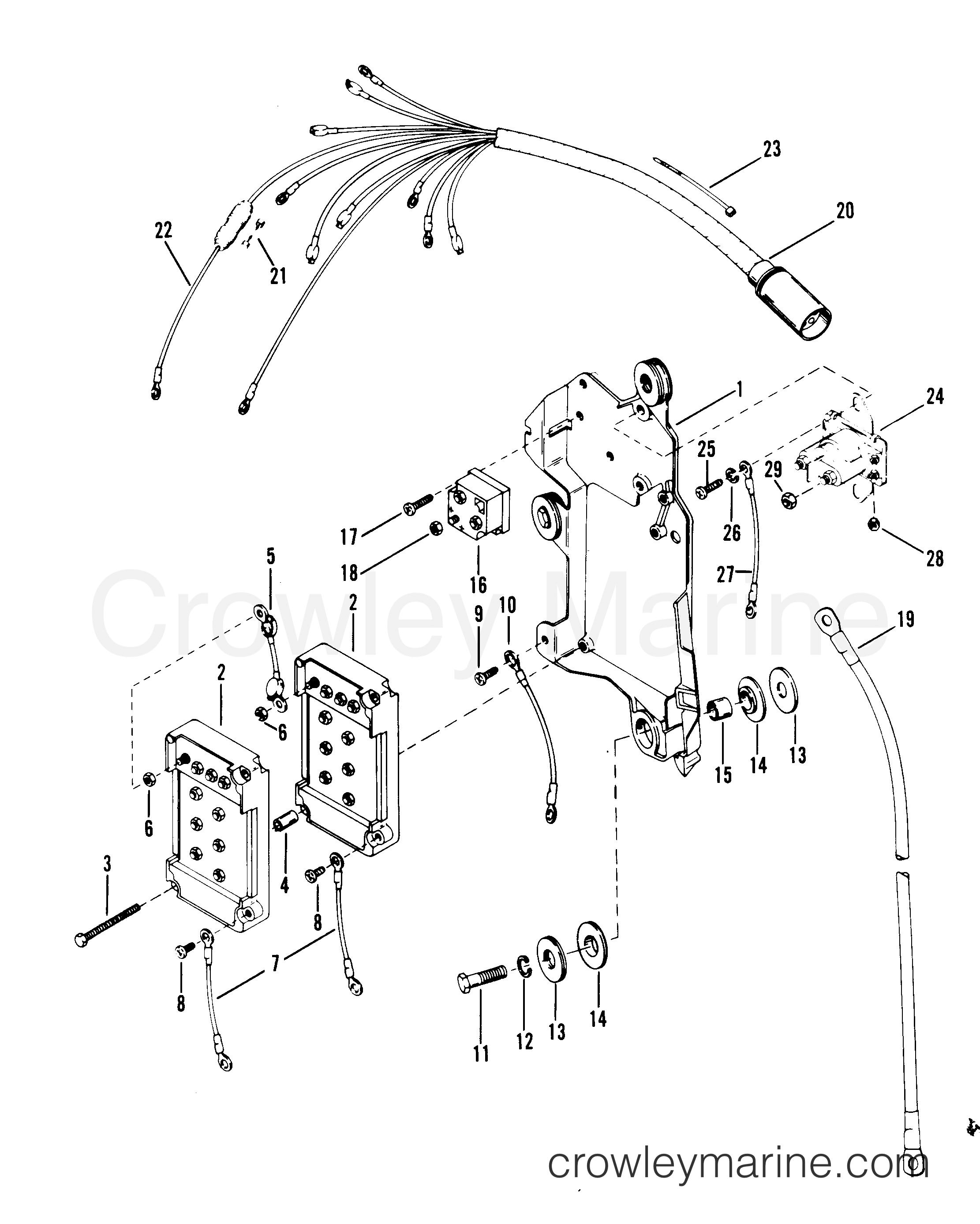 race wiring a starter wiring diagram Ford Ignition Control Module Wiring Diagram wiring harness starter solenoid and rectifier serial rangeserial range mercury race outboard merc mod vp