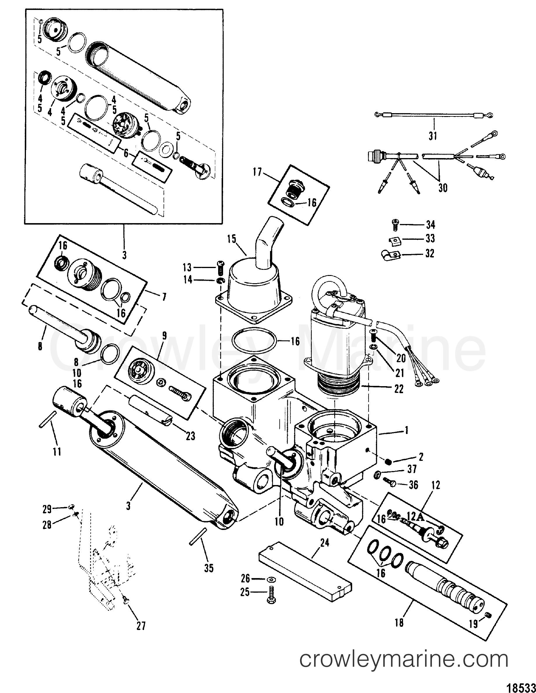 power trim components 1989 mariner outboard 175 [cxl] 7175425pd mercury outboard  wiring schematic diagram