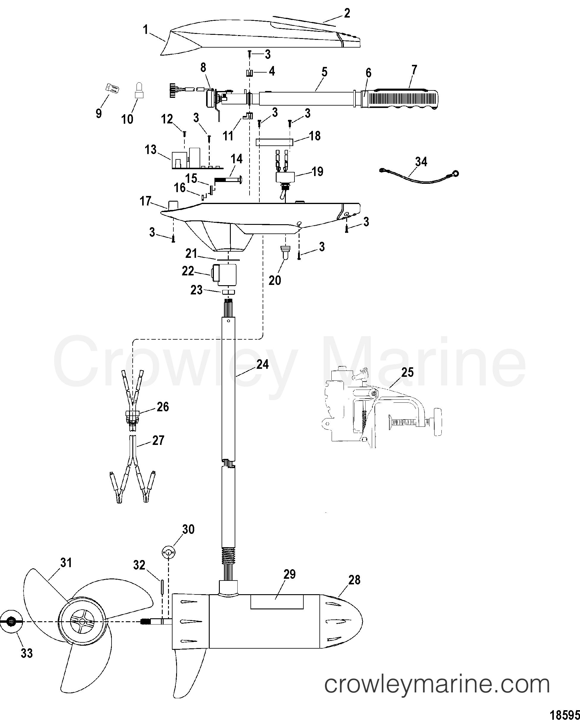 2000 MotorGuide 12V [MOTORGUIDE] - 9EF46BFW1 - COMPLETE TROLLING MOTOR(MODEL ET50VHD) (24 VOLT) section