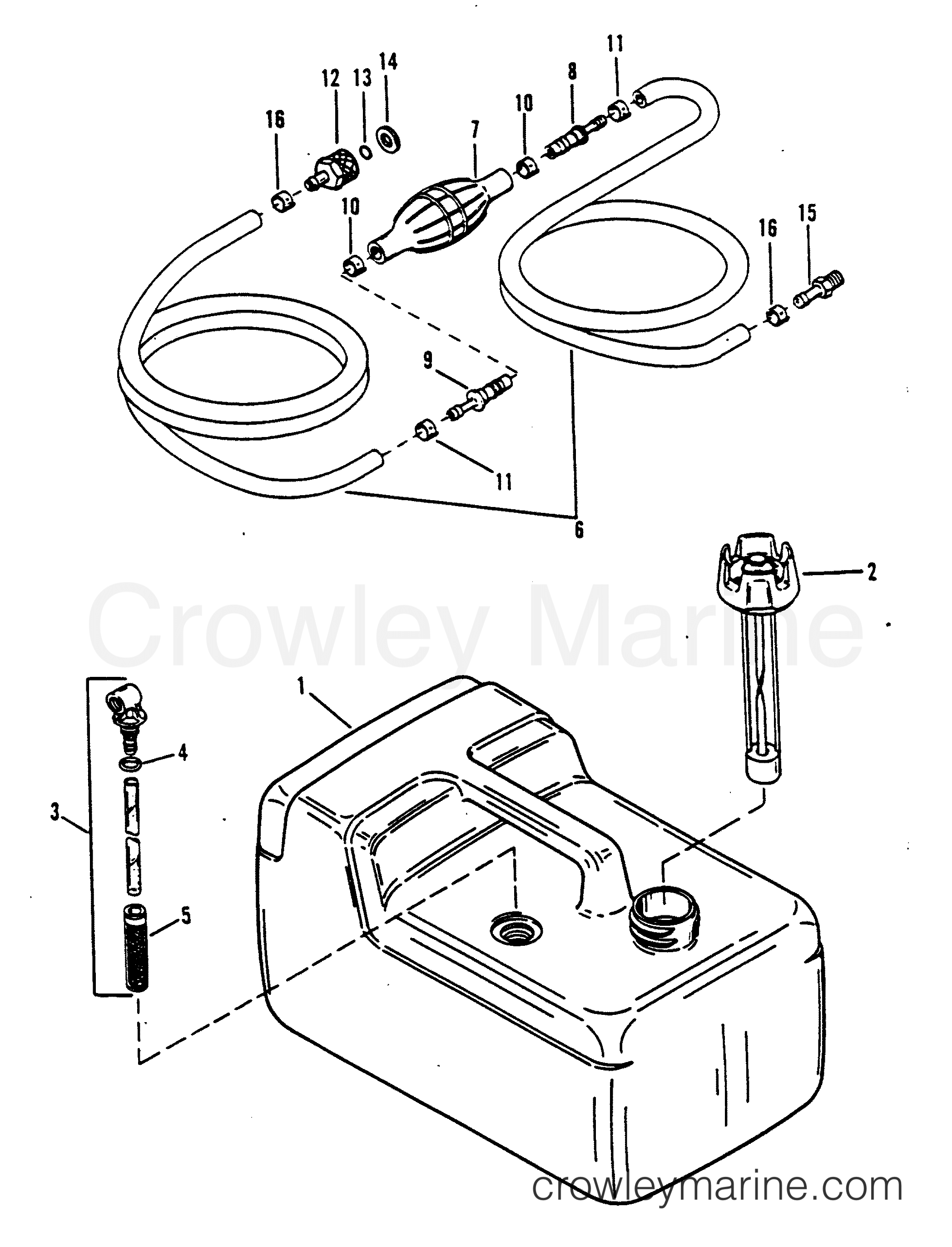 1988 Force Outboard 5 - H0052C88A [A] - FUEL TANK AND LINE (PLASTIC - 3.2 GALLON) section