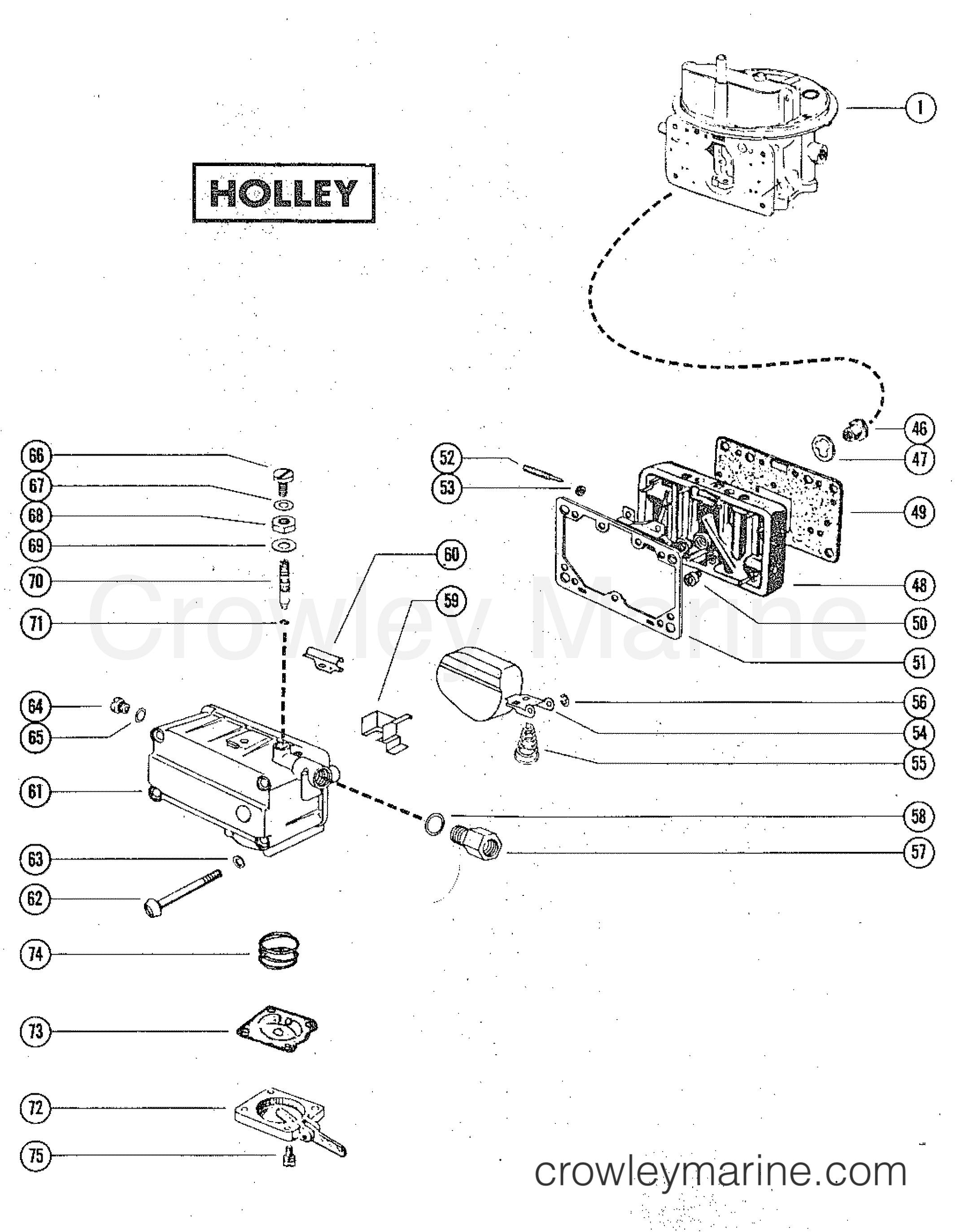 carburetor assembly holley 1975 mercruiser 888 2888205. Black Bedroom Furniture Sets. Home Design Ideas