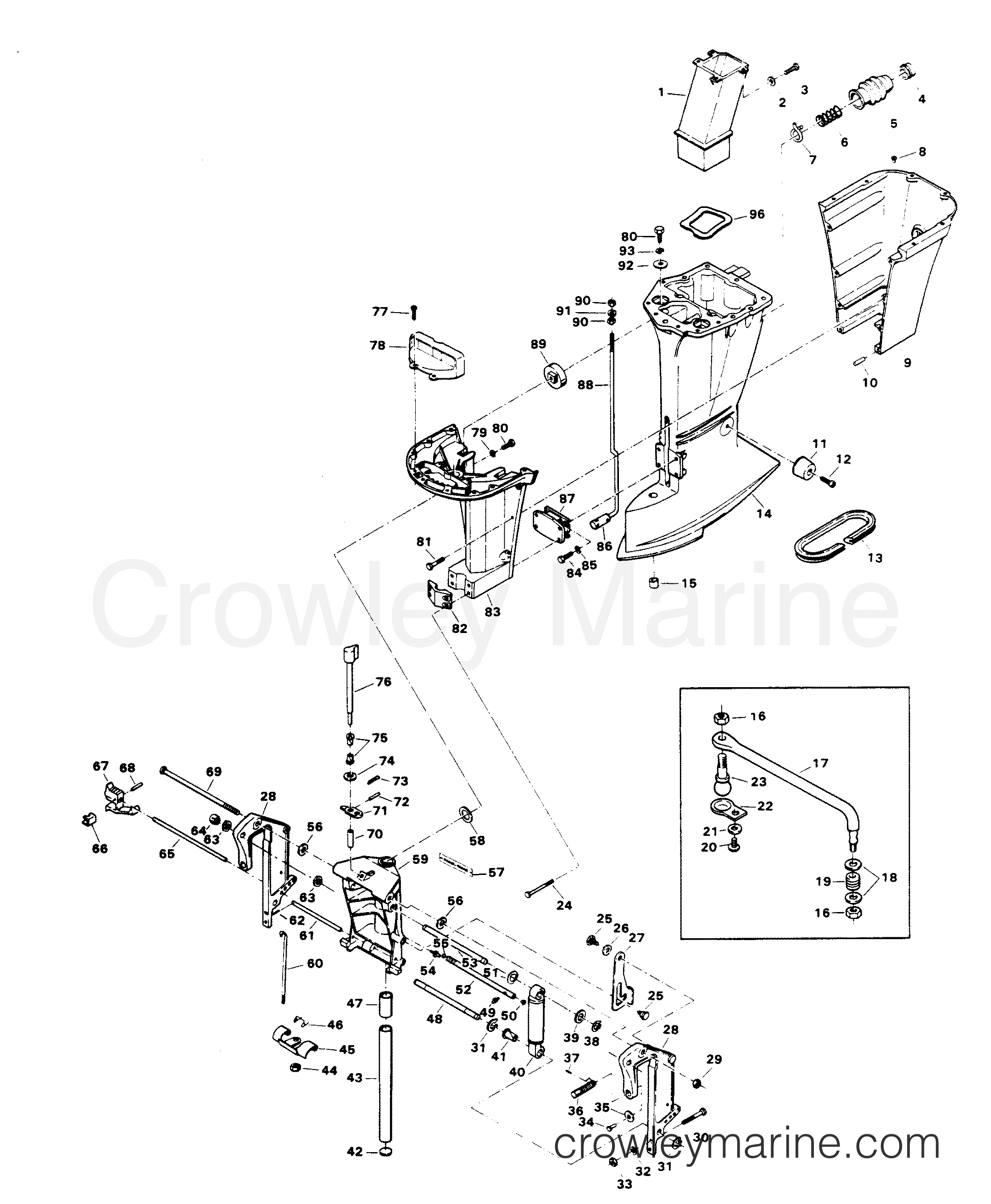 1982 Chrysler Outboard 140 - 1408B2D - MOTOR LEG