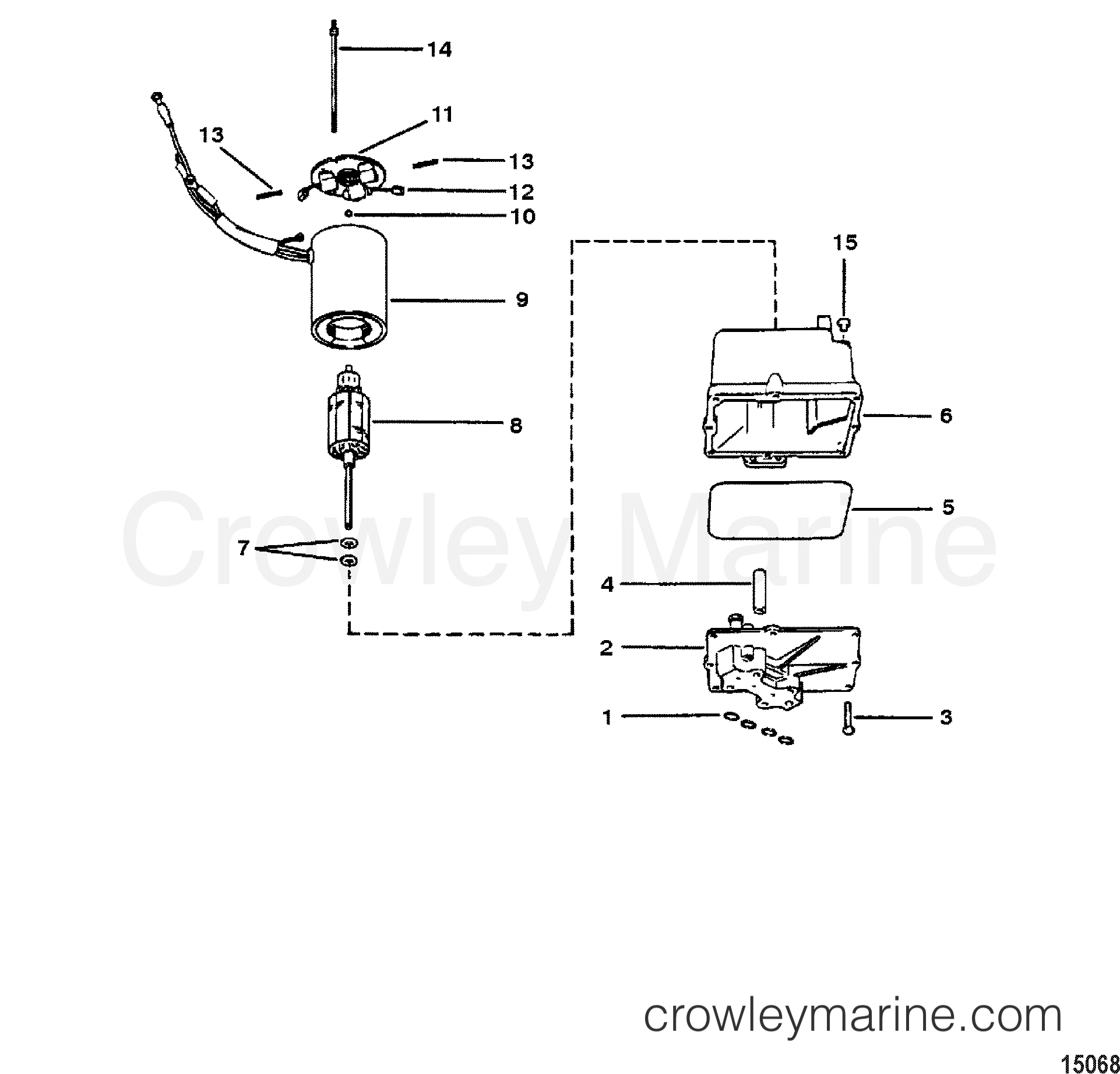 1980 Mercury Outboard 70 [ELPT] -  1070620 - HYDRAULIC PUMP ASSEMBLY(PLASTIC RESERVOIR) section