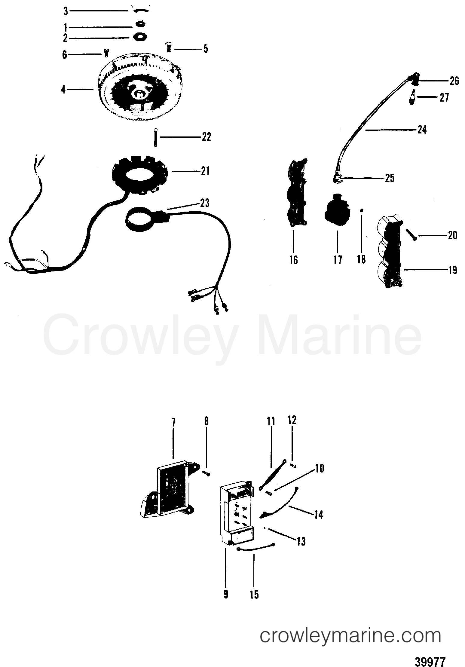 1980 Mercury Outboard 70 [ELPT] -  1070620 - FLYWHEEL, SWITCH BOX, IGNITION COIL, STATOR section